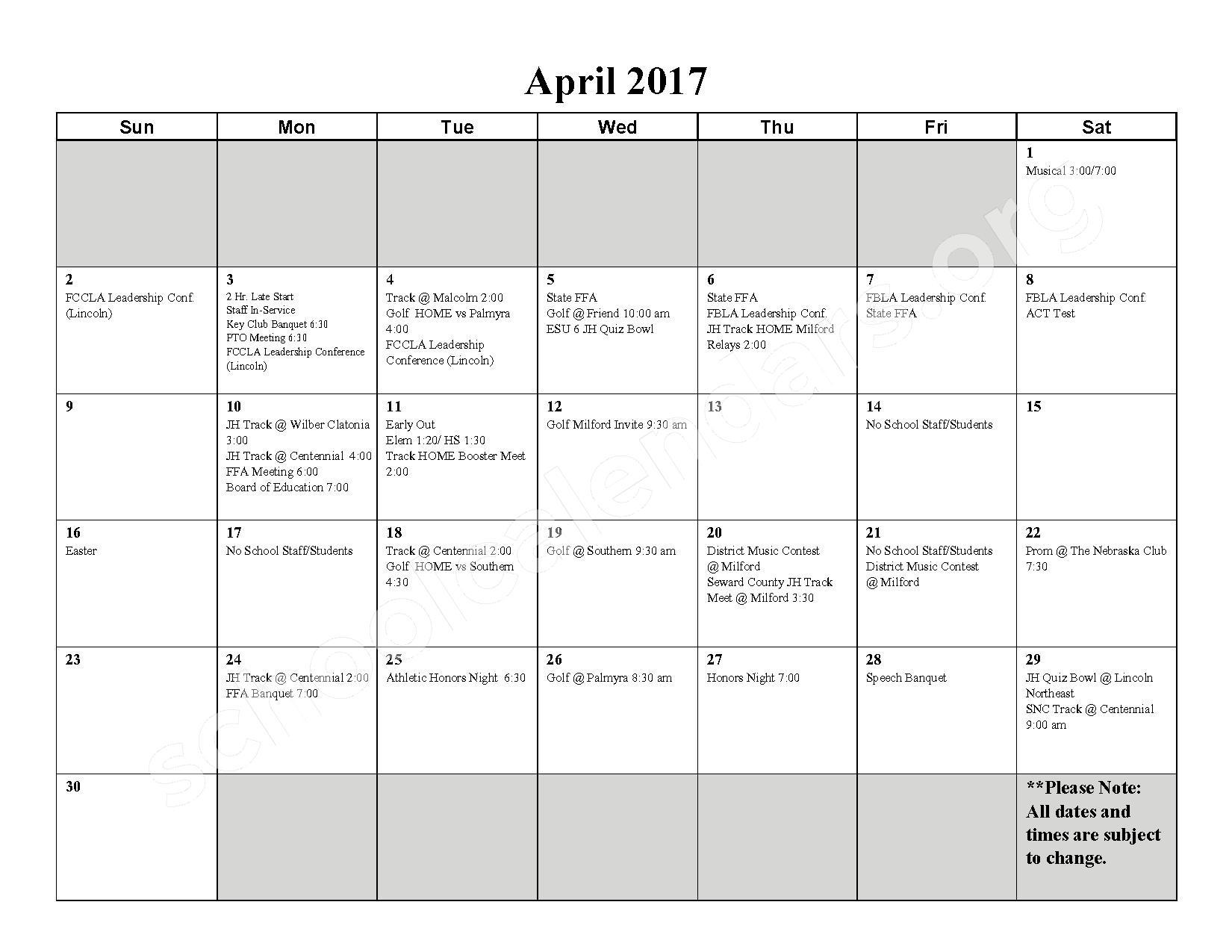 2016 - 2017 School Calendar – Milford High School – page 9