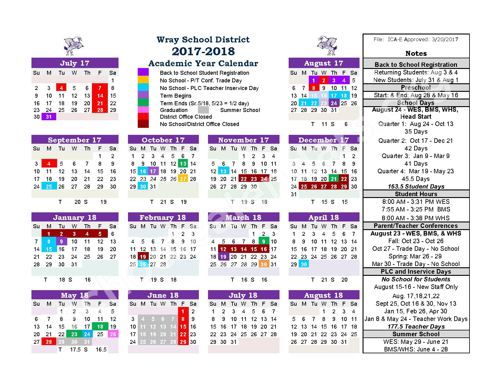 2017 - 2018 District Calendar – Wray School District RD-2 – page 1