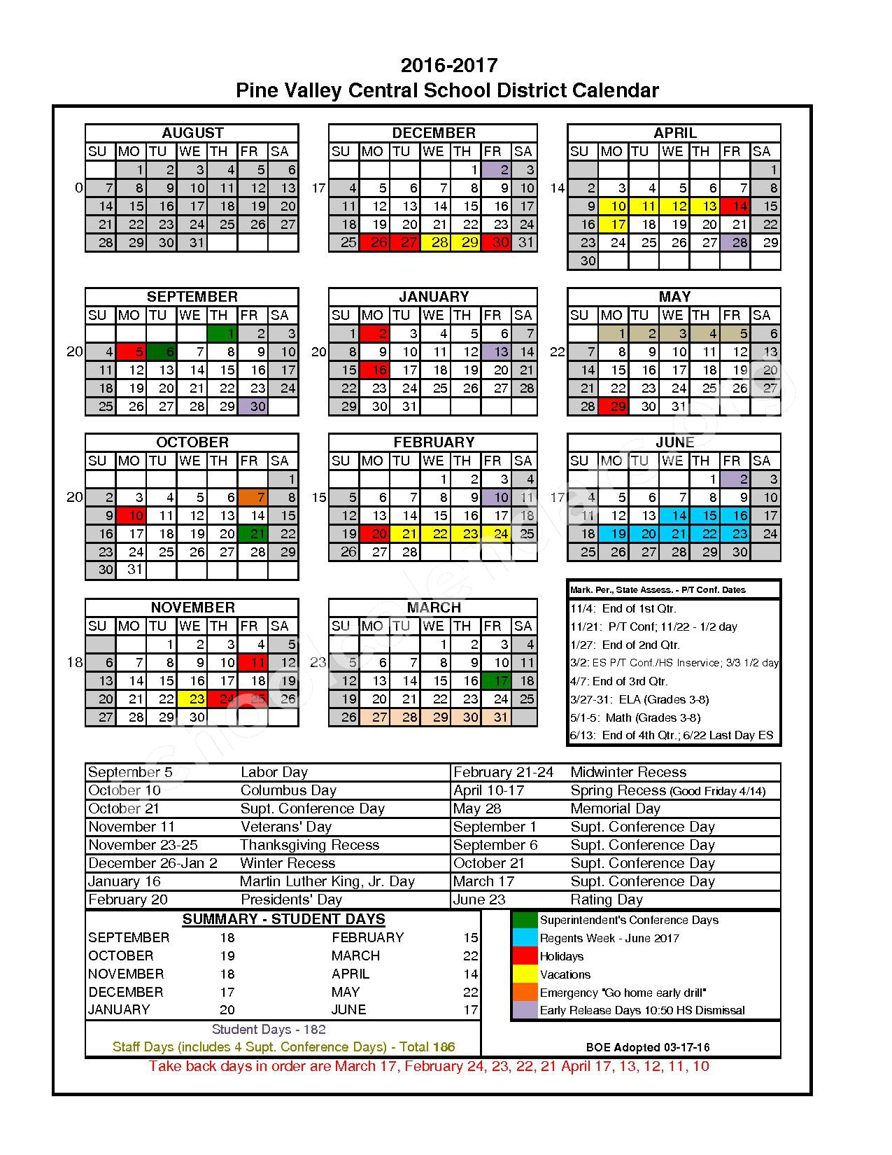 2016 - 2017 District Calendar – Pine Valley Central School District (South Dayton) – page 1