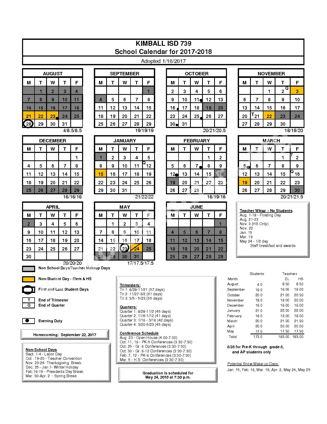 2017 - 2018 District Calendar – Kimball Public School District – page 1