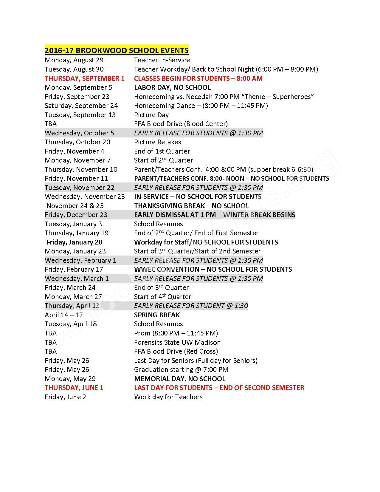 2016 - 2017 School Calendar – Norwalk-Ontario-Wilton School District – page 1