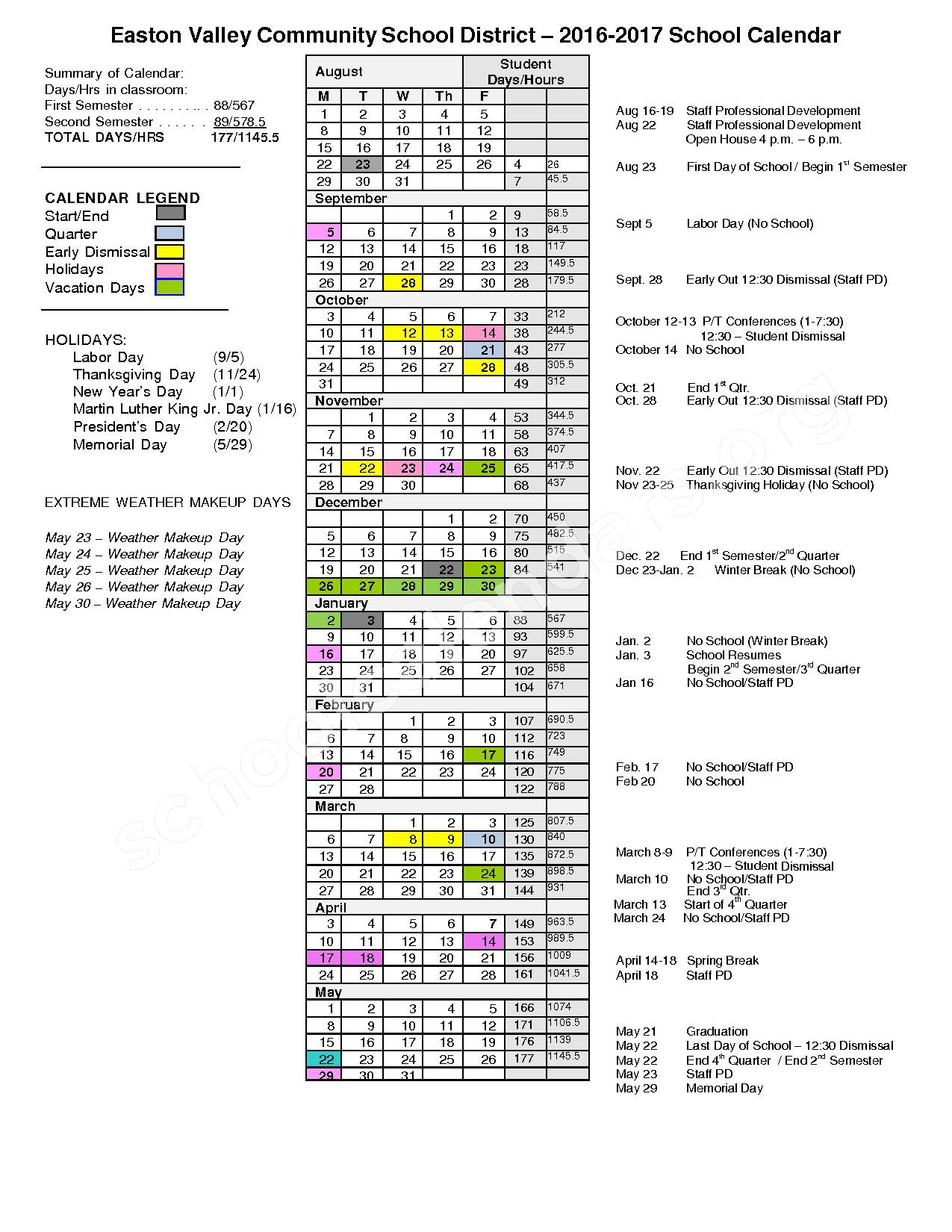 2016 - 2017 District Calendar – Easton Valley School District – page 1