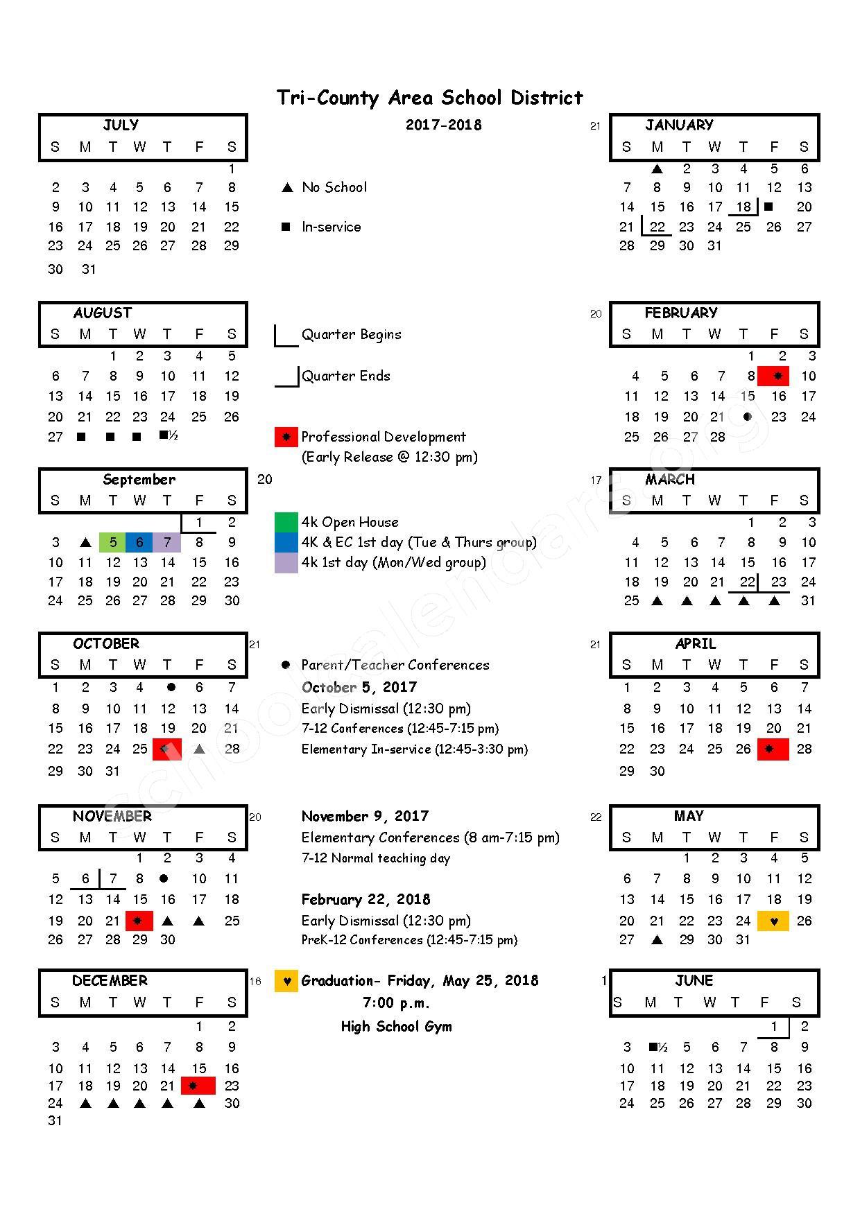 2017 - 2018 School Calendar – Tri-County Area School District – page 1