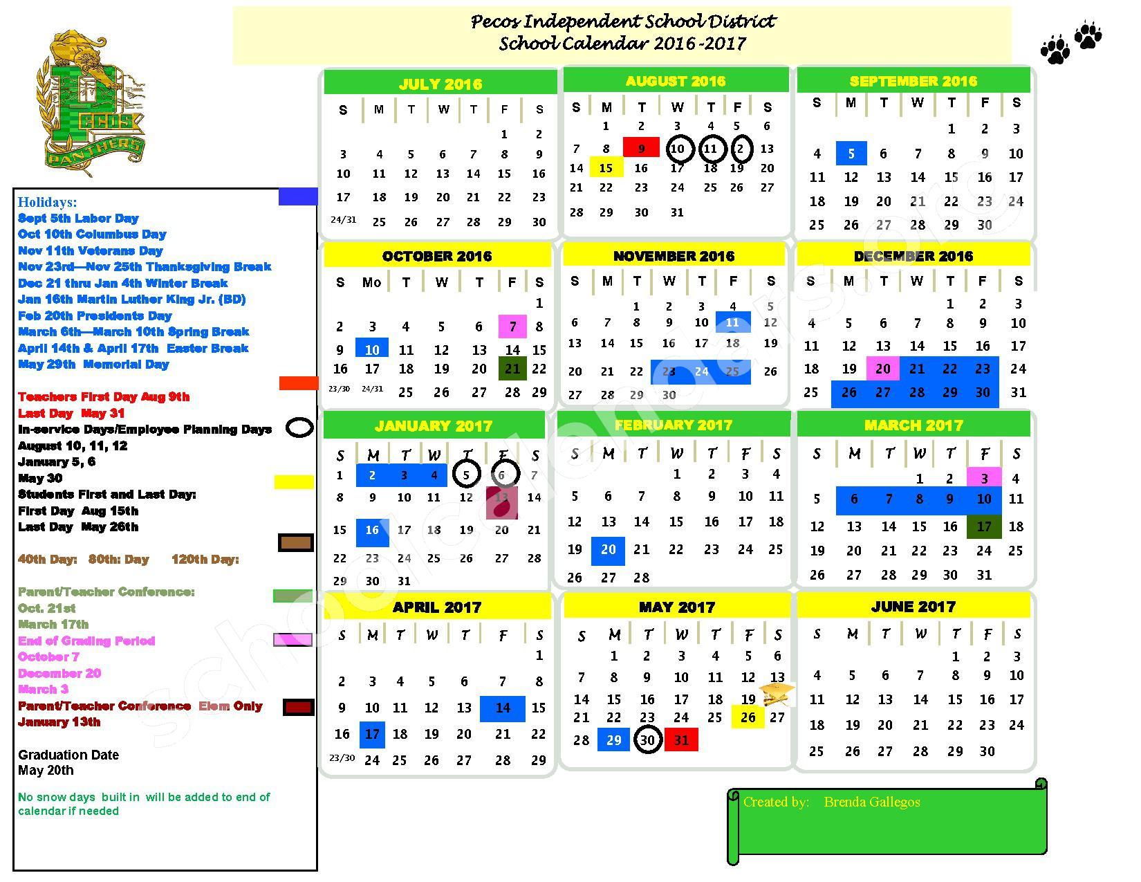 2016 - 2017 School Calendar – Pecos Independent Schools – page 1