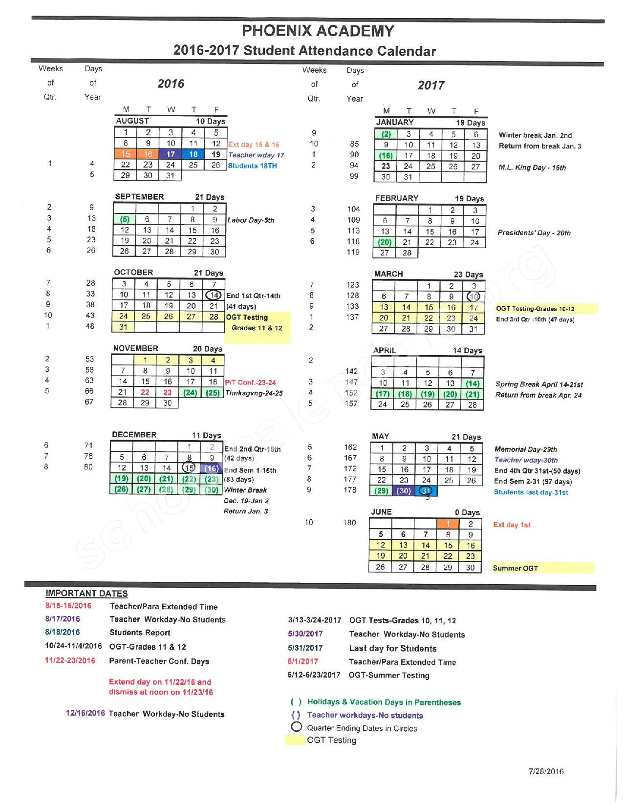 2016 - 2017 District Calendar – Phoenix Academy – page 1