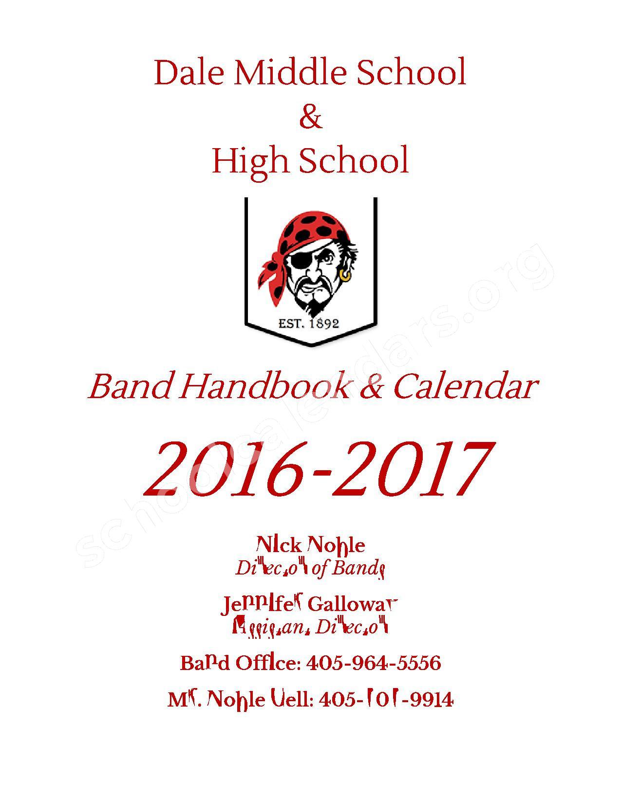 2016 - 2017 District Calendar – Dale Public Schools – page 1