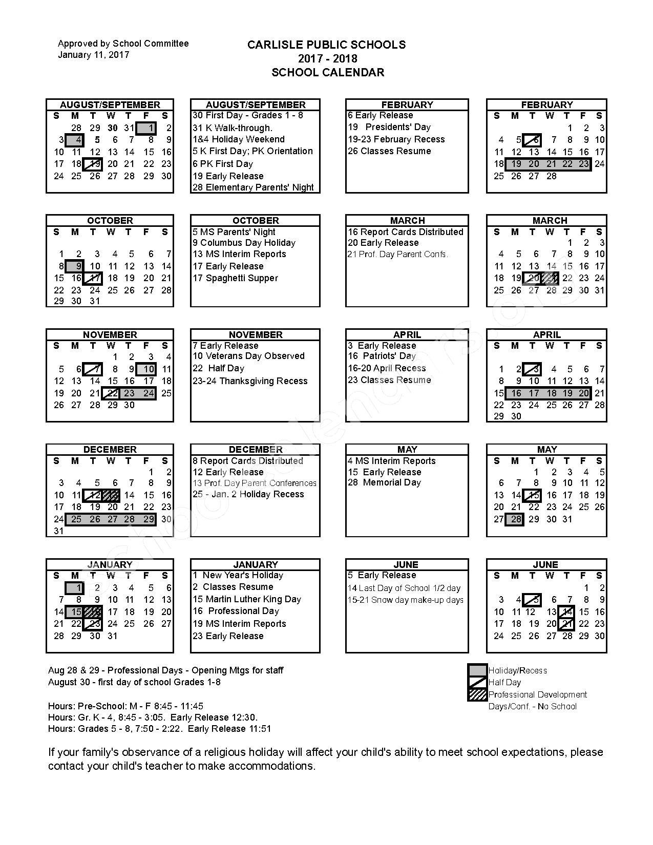 2017 - 2018 School Calendar – Carlisle Public Schools – page 1