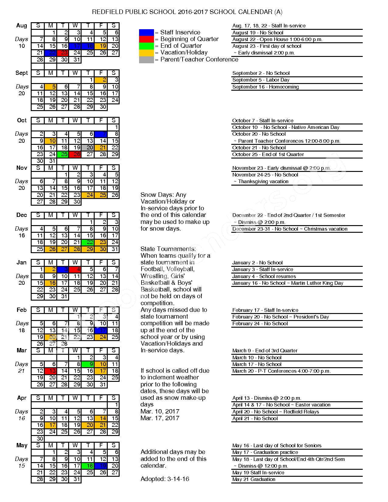 2016 - 2017 District Calendar – Redfield School District 56-4 – page 1