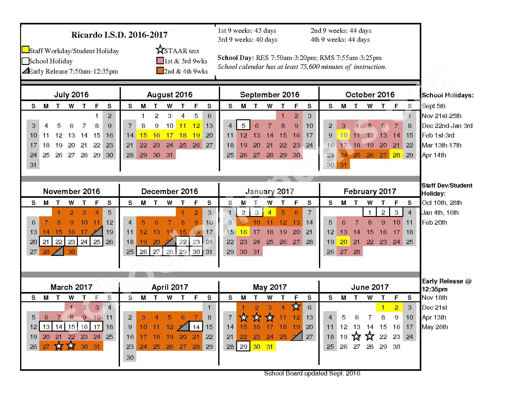 2016 - 2017 School Calendar – Ricardo Independent School District – page 1