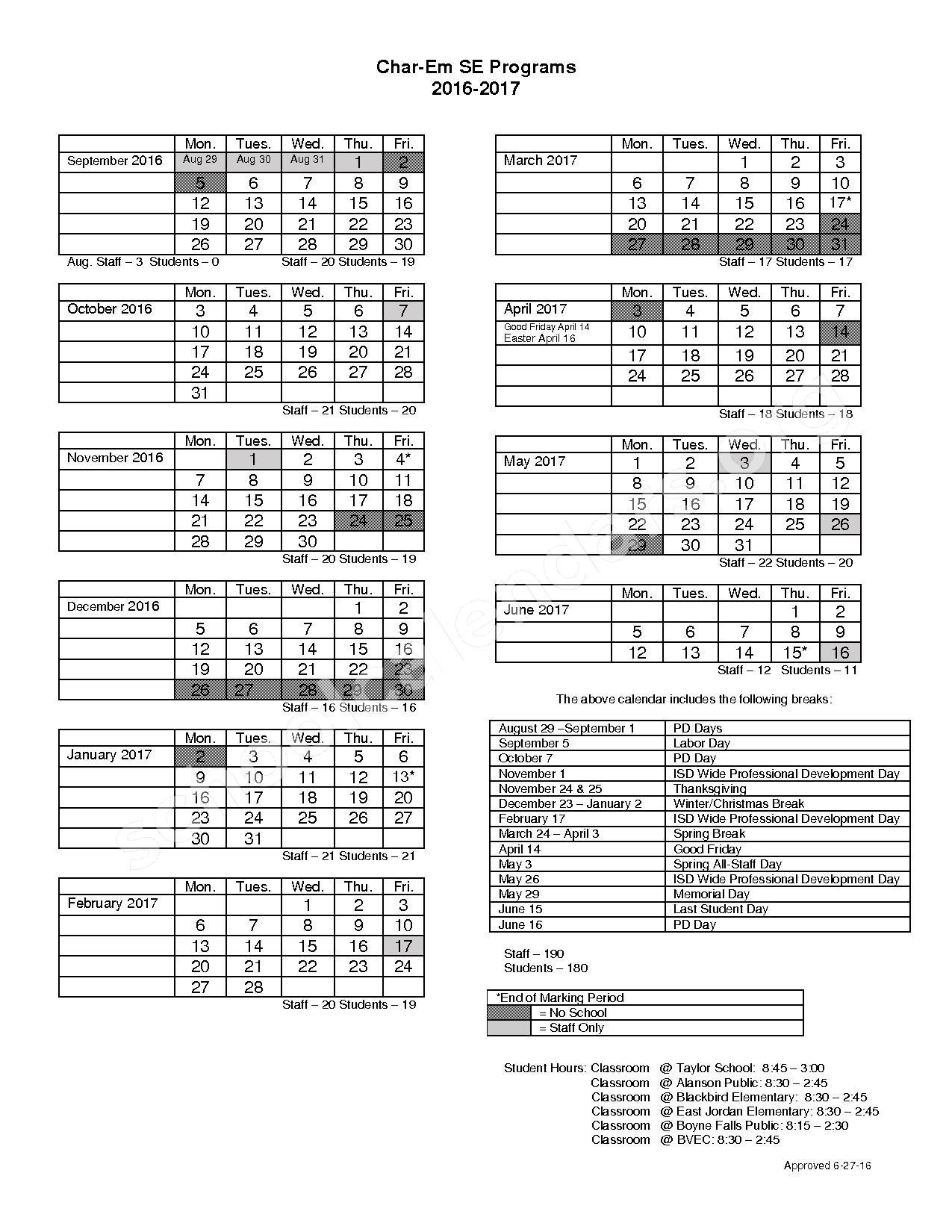 2016 - 2017 School Calendar – Pellston Public Schools – page 1