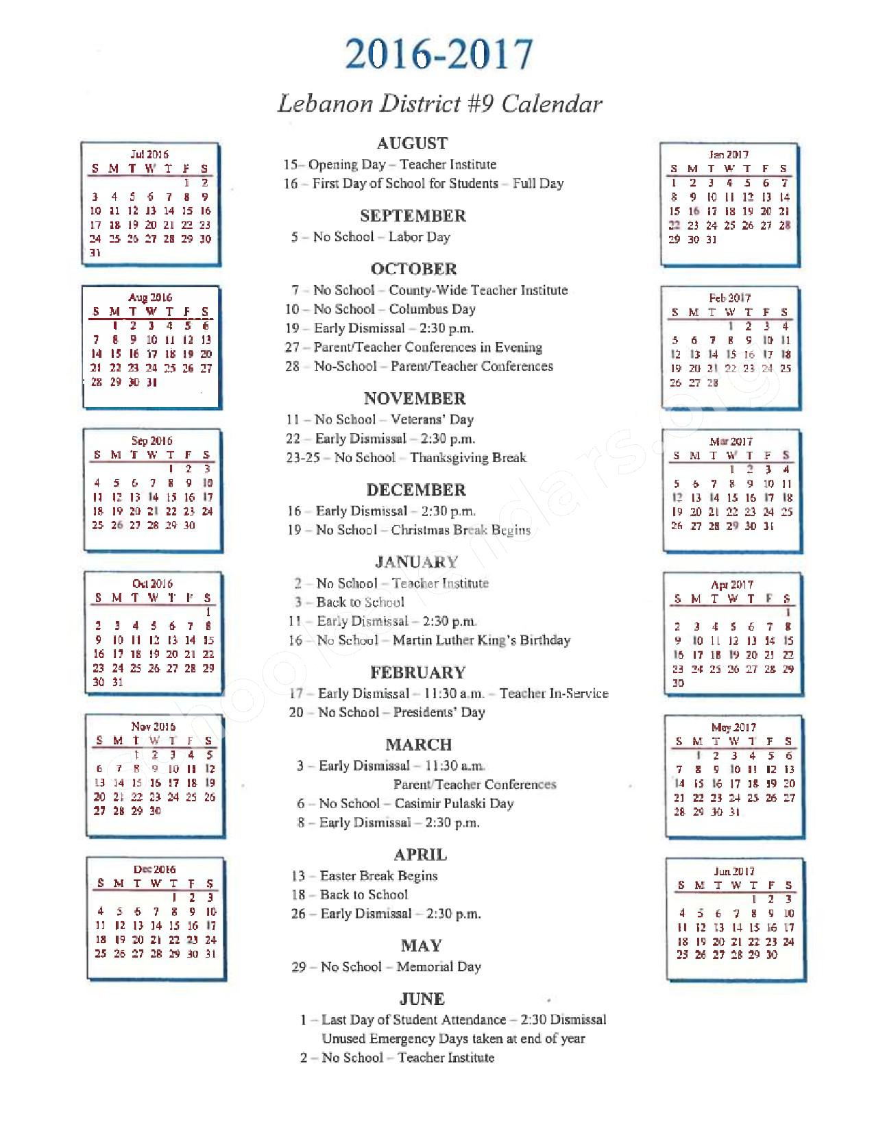 2016 - 2017 District Calendar page 1