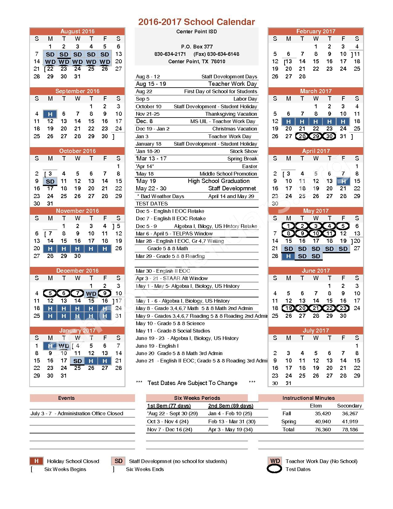 2016 - 2017 School Calendar – Center Point Independent School District – page 1