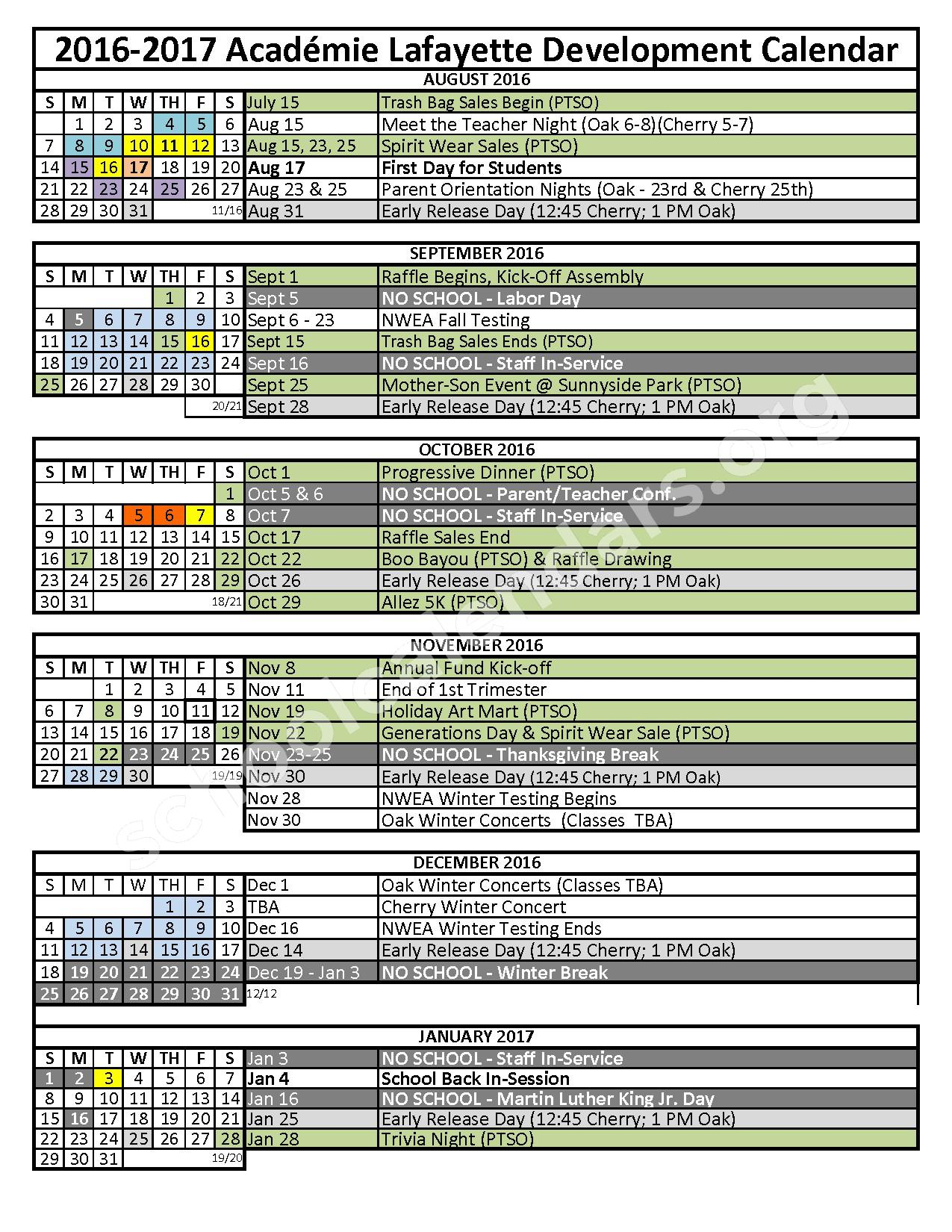 2016 - 2017 District Calendar – Academie Lafayette – page 1