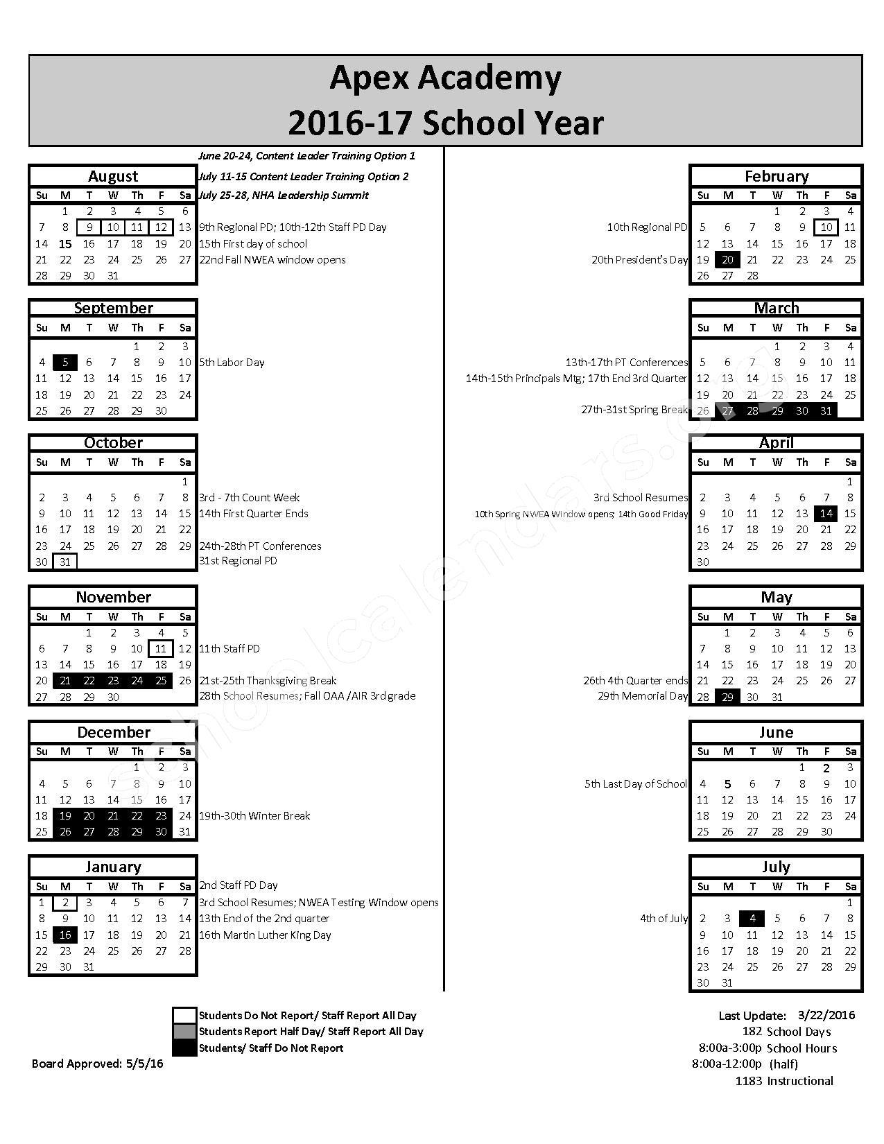 2016 - 2017 School Calendar – Apex Academy – page 1