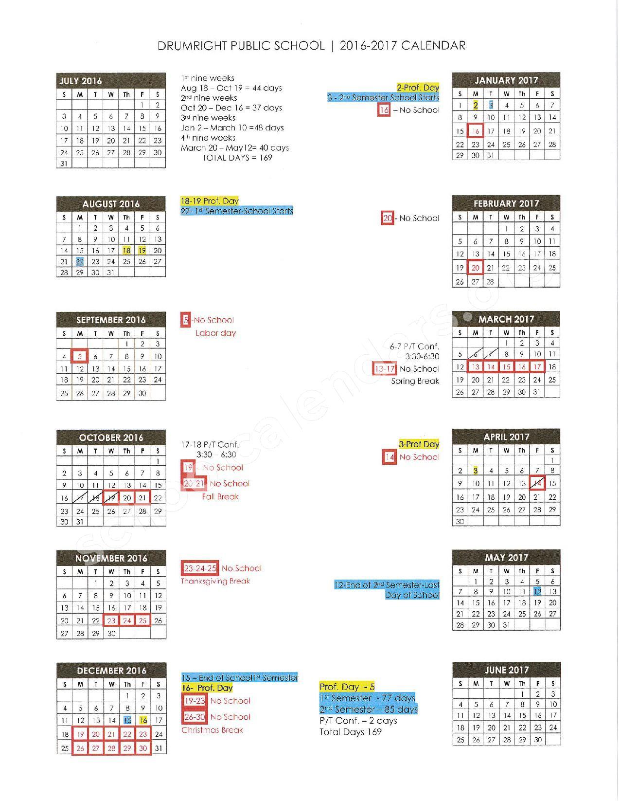 2016 - 2017 School Calendar – Drumright Public Schools – page 1
