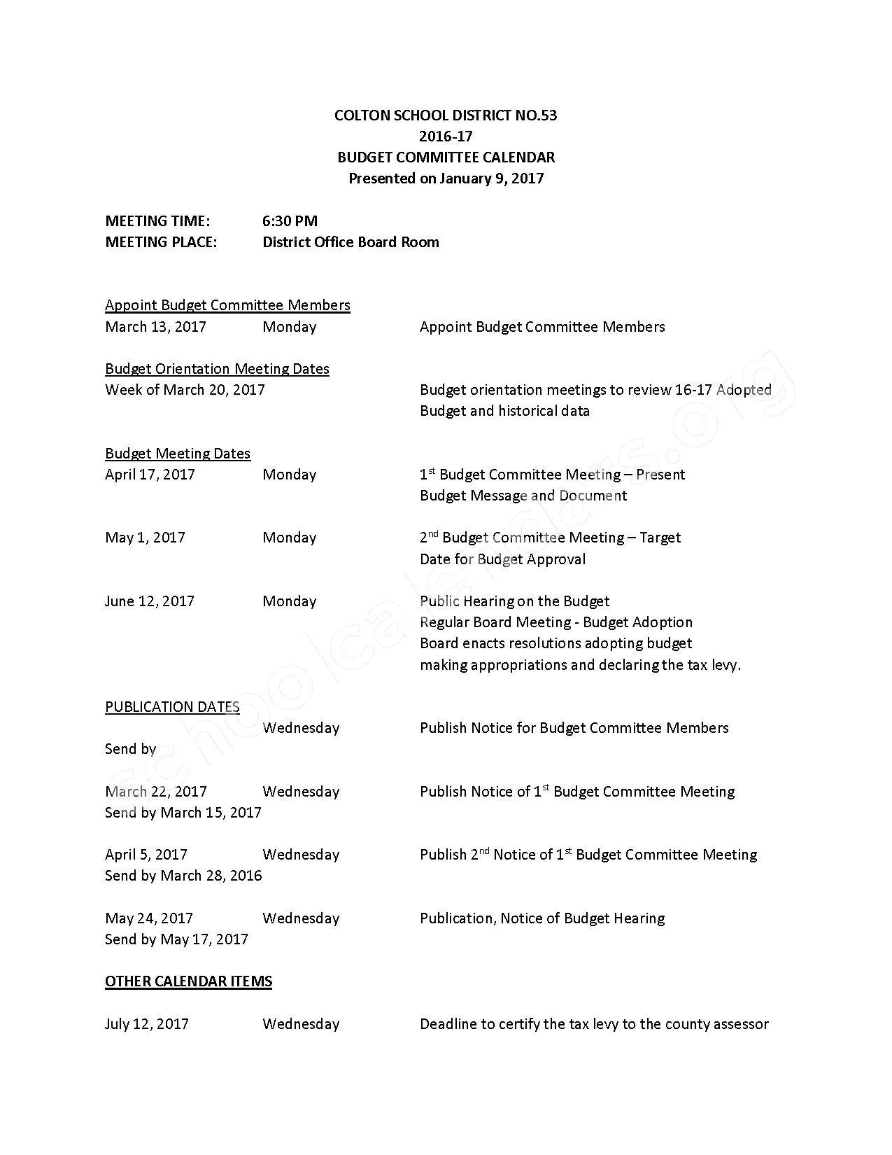 2016 - 2017 School Calendar – Colton School District – page 1