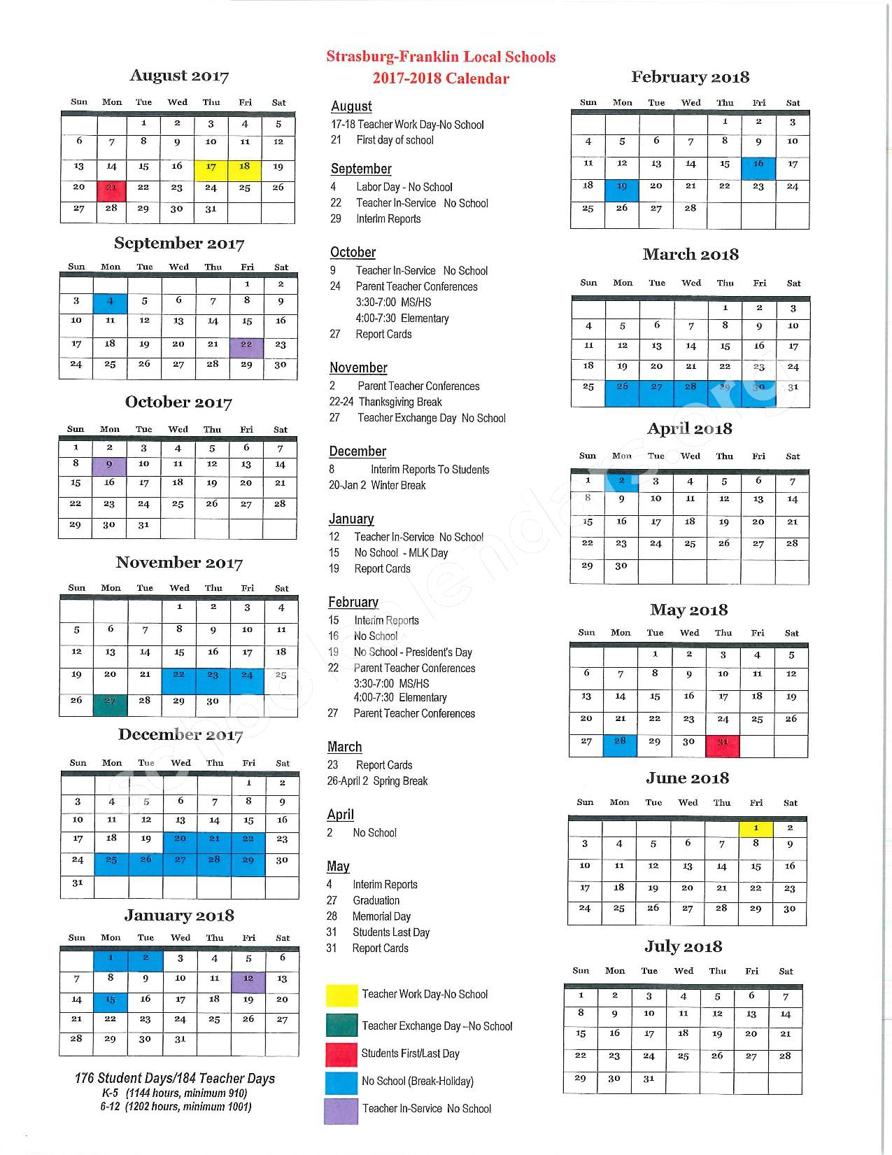 2017 - 2018 School Calendar – Strasburg-Franklin High School – page 1