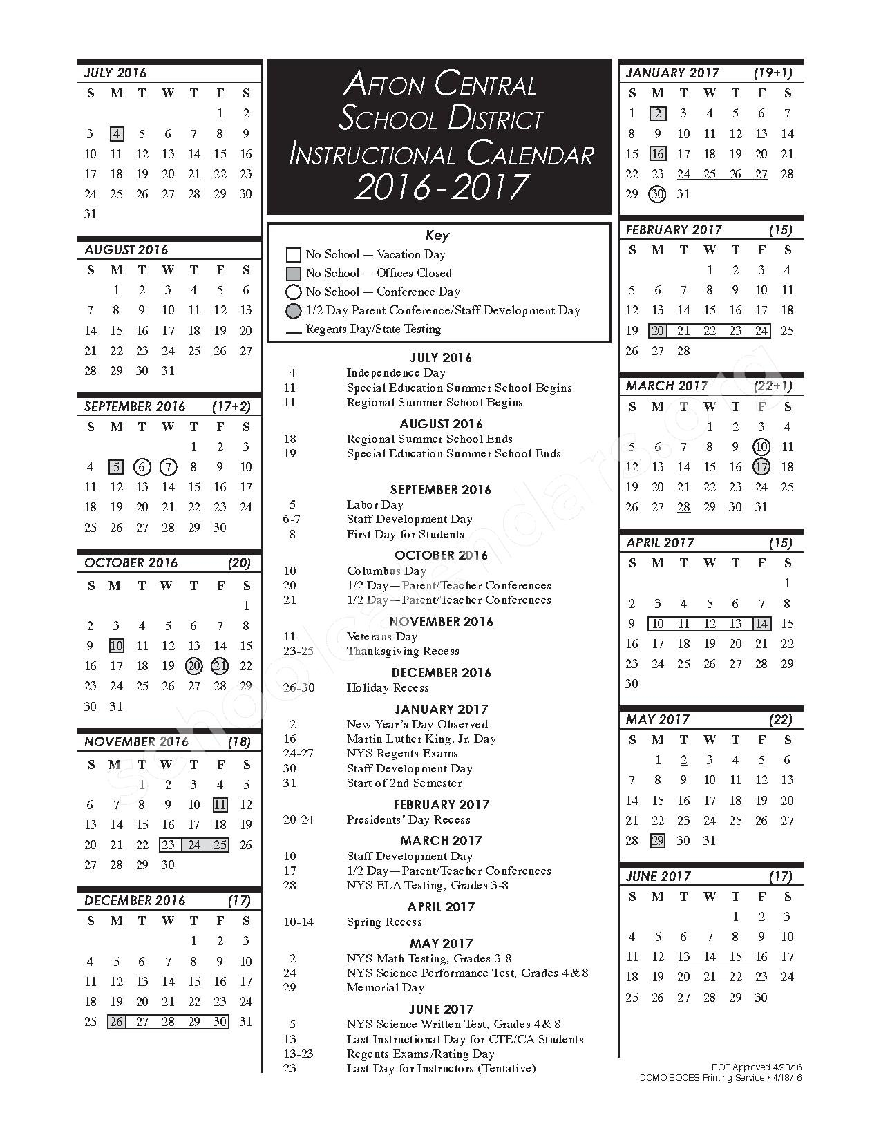 2016 - 2017 Instructional Calendar – Afton Central School District – page 1