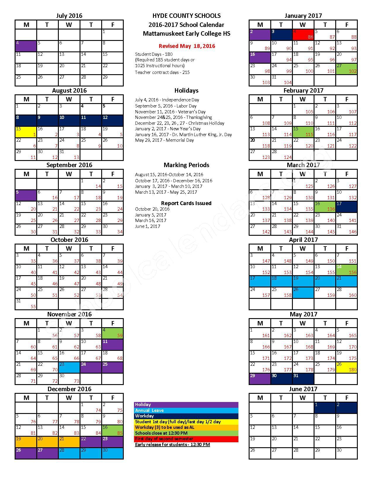 2016 - 2017 School Calendar – Hyde County Schools – page 1
