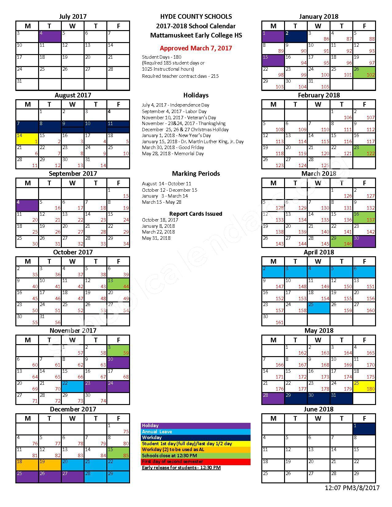 2017 - 2018 School Calendar – Hyde County Schools – page 1