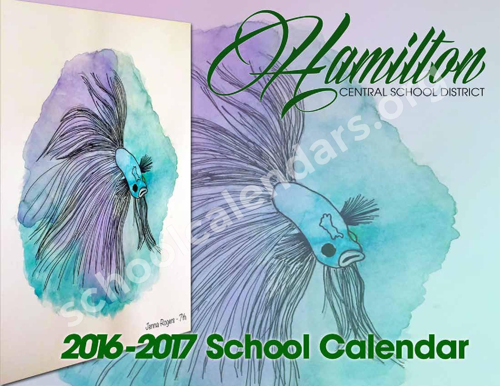 2016 - 2017 District Calendar – Hamilton Central School District – page 1