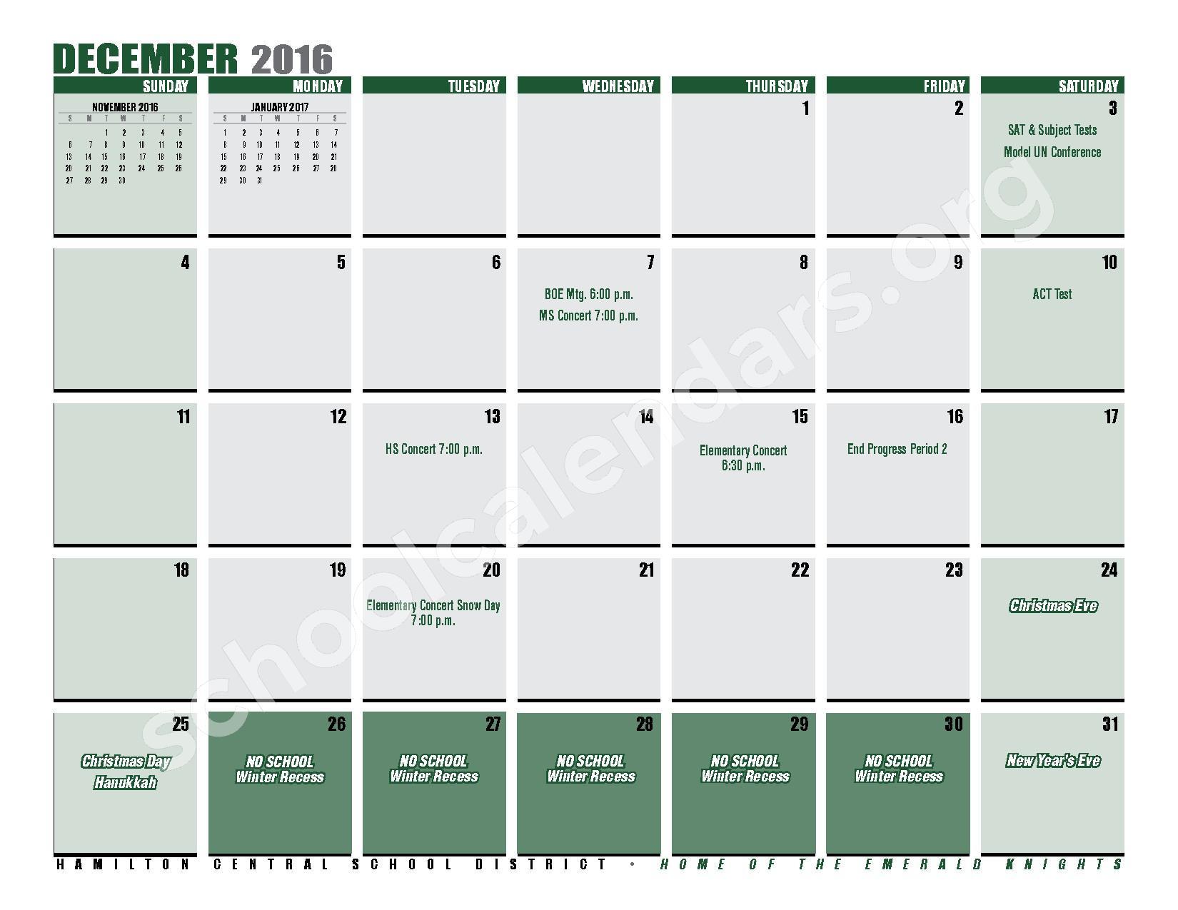 2016 - 2017 District Calendar – Hamilton Central School District – page 15