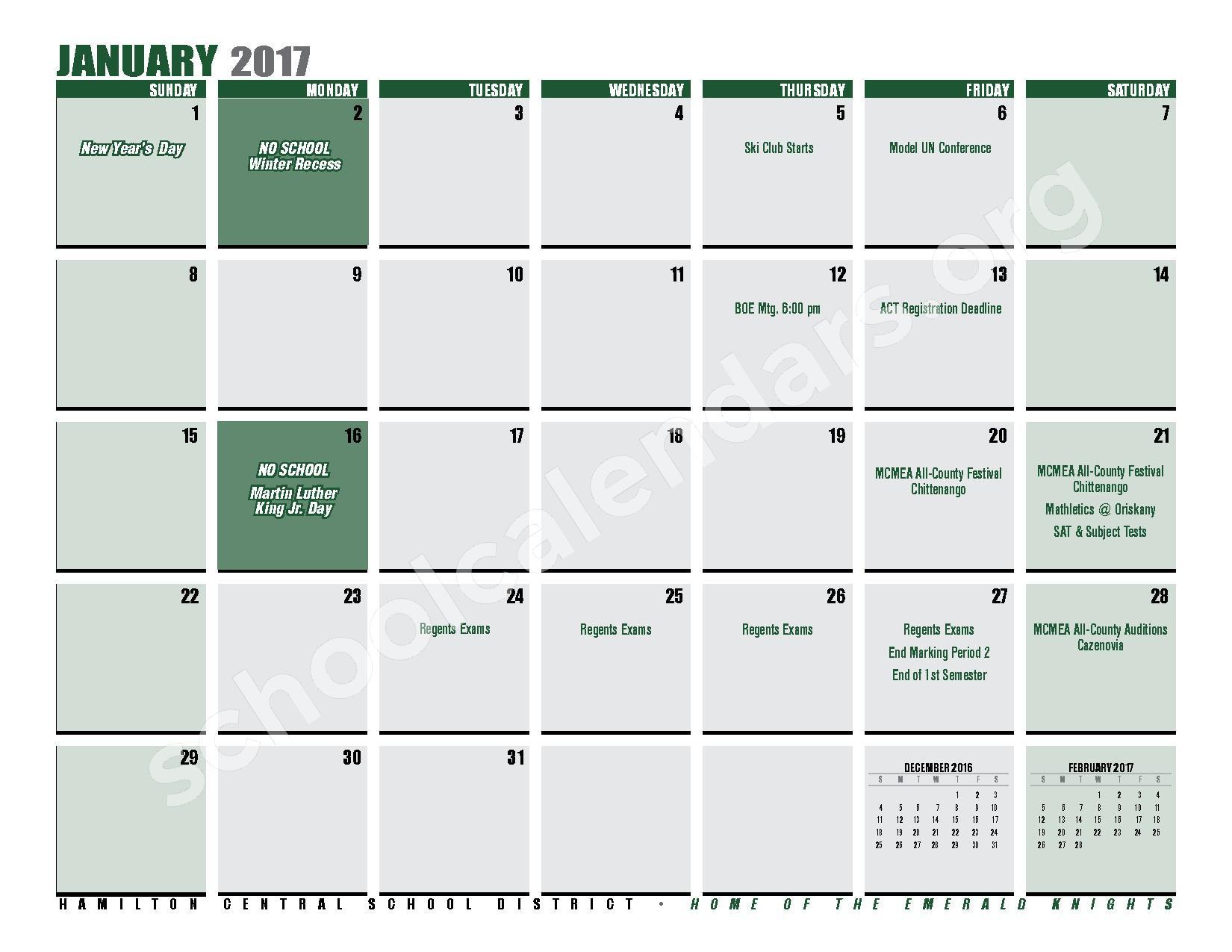 2016 - 2017 District Calendar – Hamilton Central School District – page 17