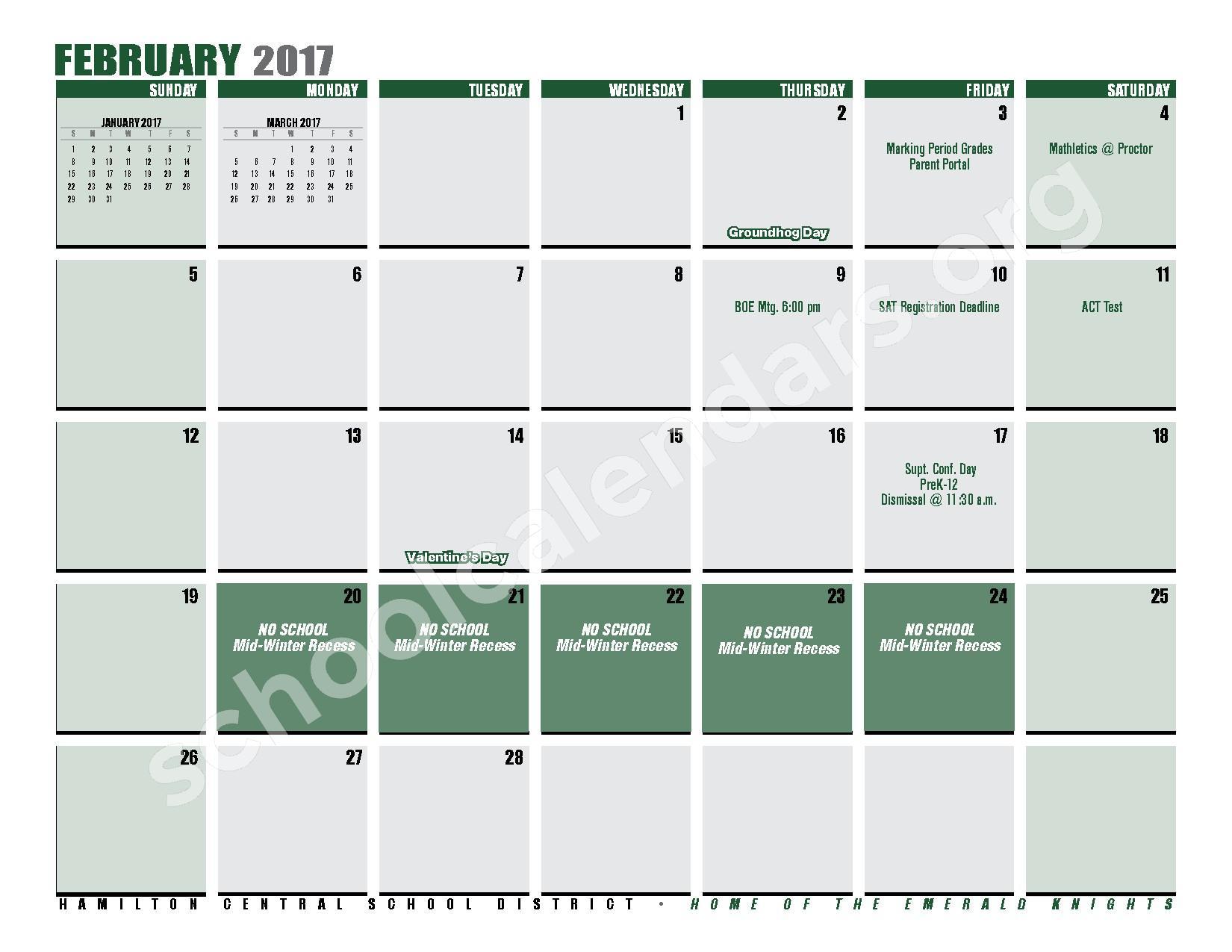 2016 - 2017 District Calendar – Hamilton Central School District – page 19