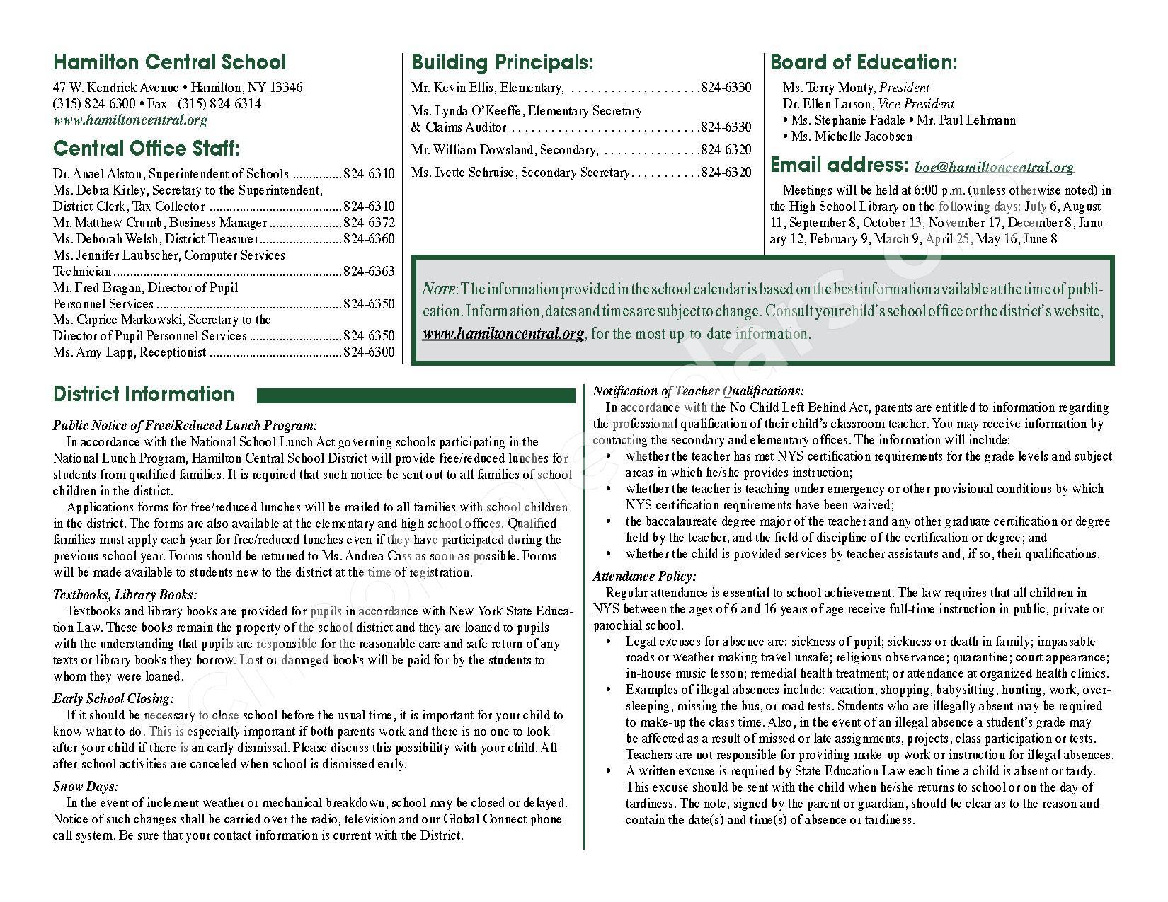 2016 - 2017 District Calendar – Hamilton Central School District – page 2