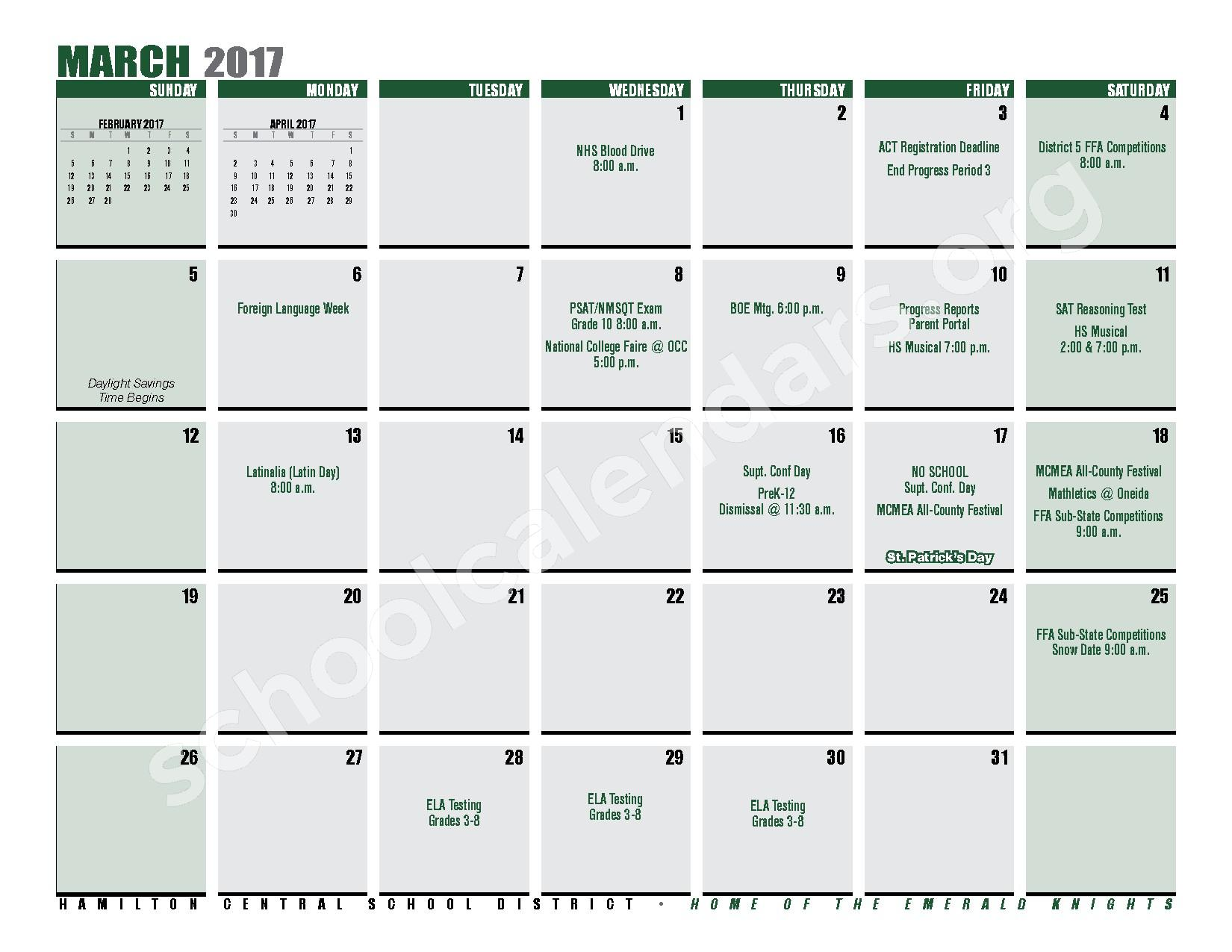 2016 - 2017 District Calendar – Hamilton Central School District – page 21