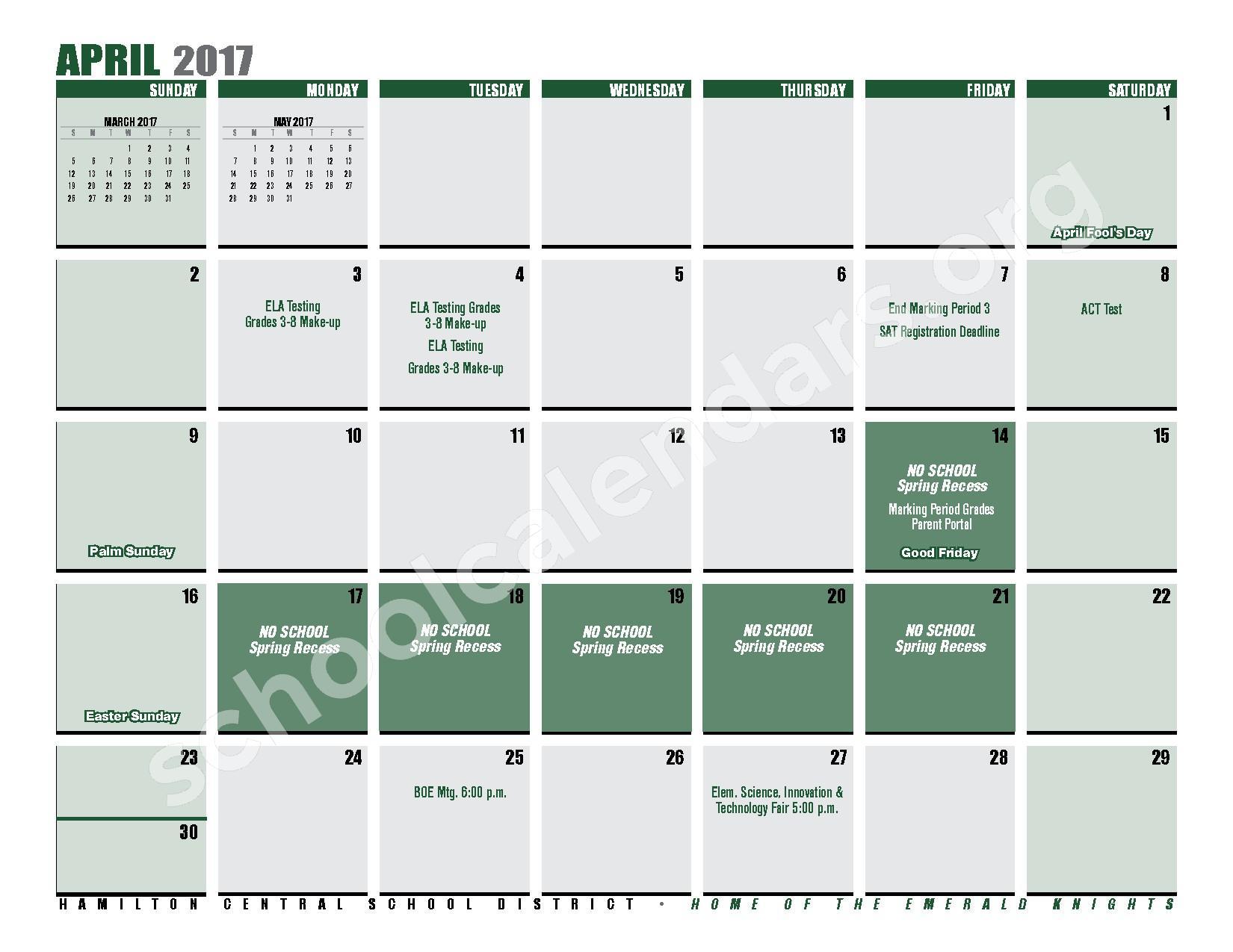2016 - 2017 District Calendar – Hamilton Central School District – page 23