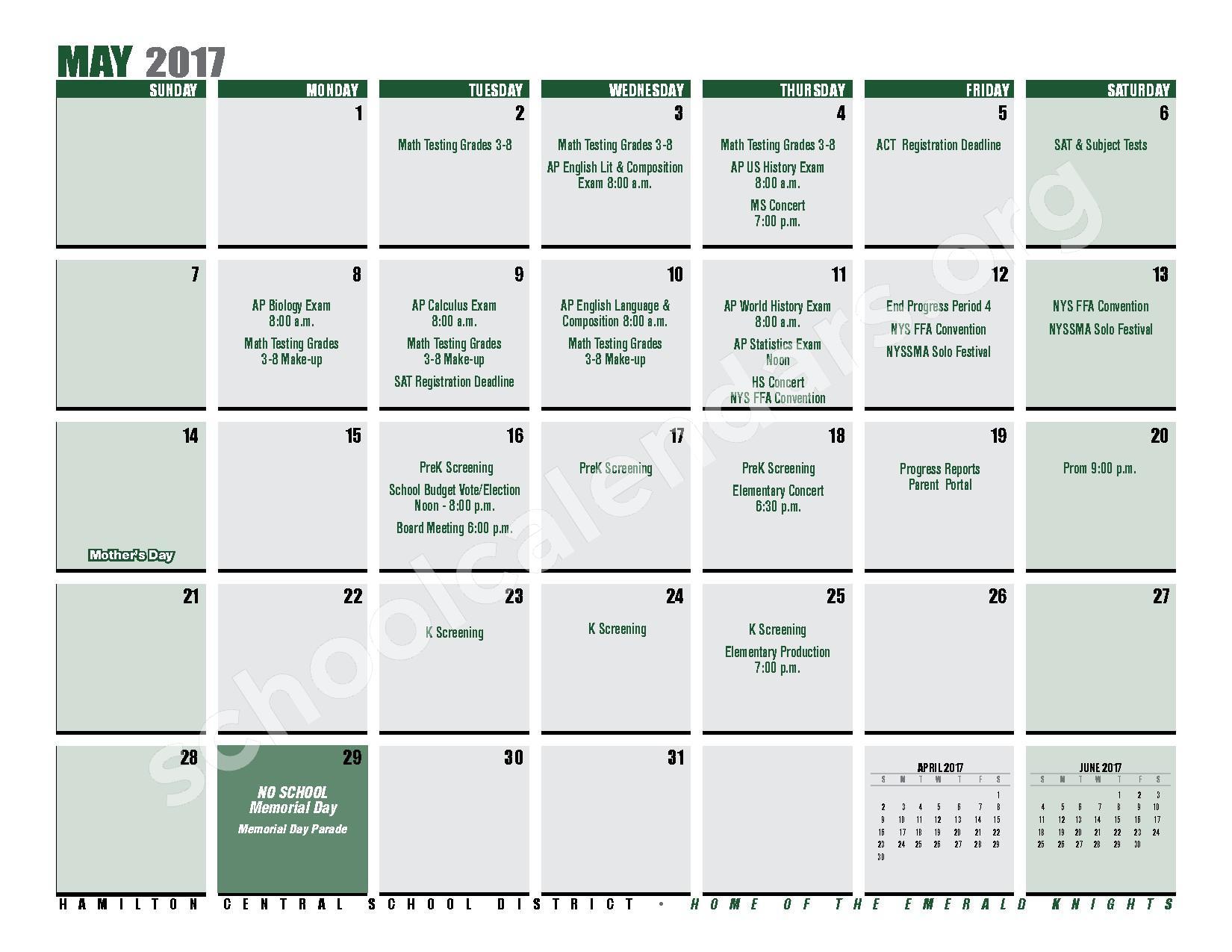 2016 - 2017 District Calendar – Hamilton Central School District – page 25