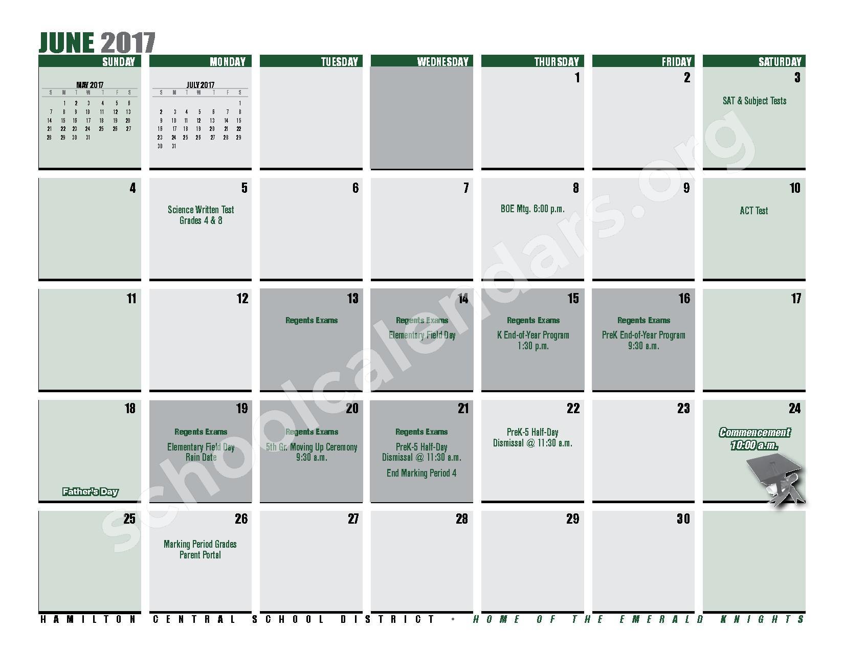 2016 - 2017 District Calendar – Hamilton Central School District – page 27