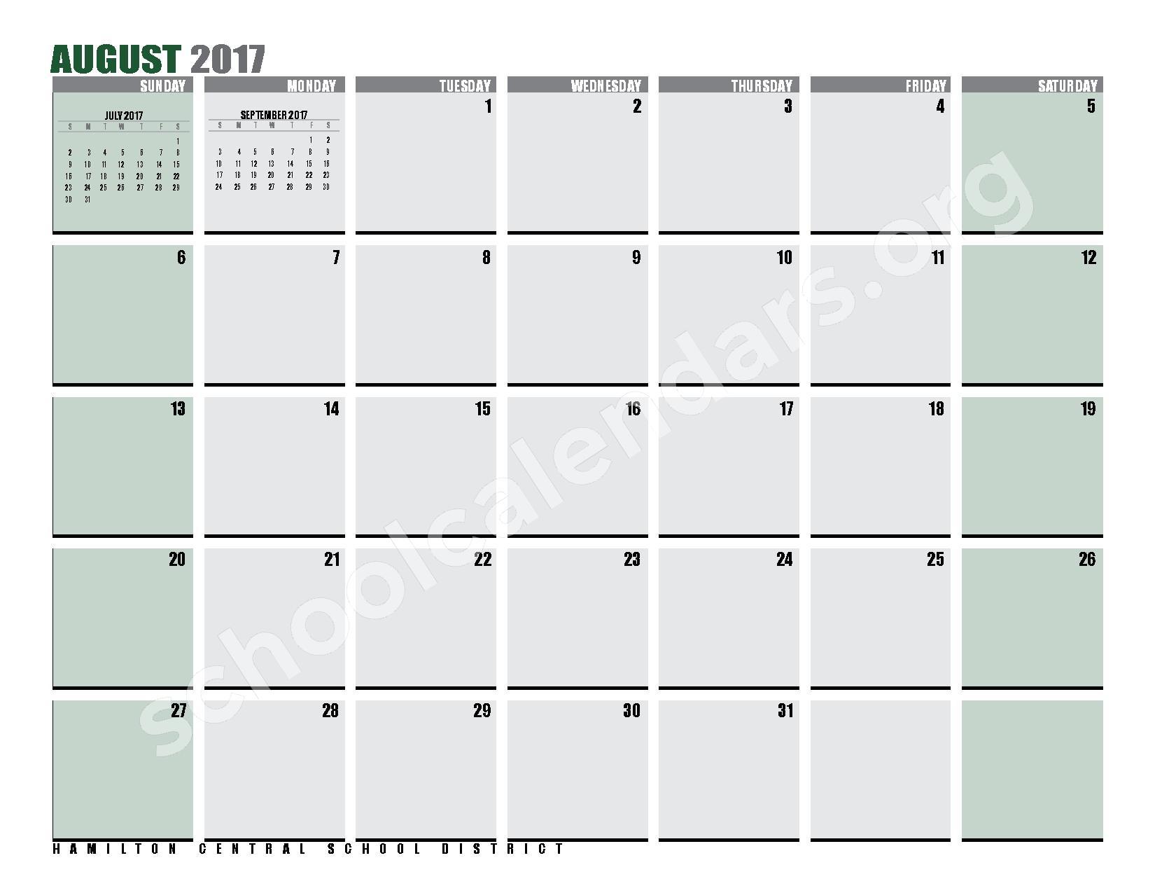 2016 - 2017 District Calendar – Hamilton Central School District – page 31