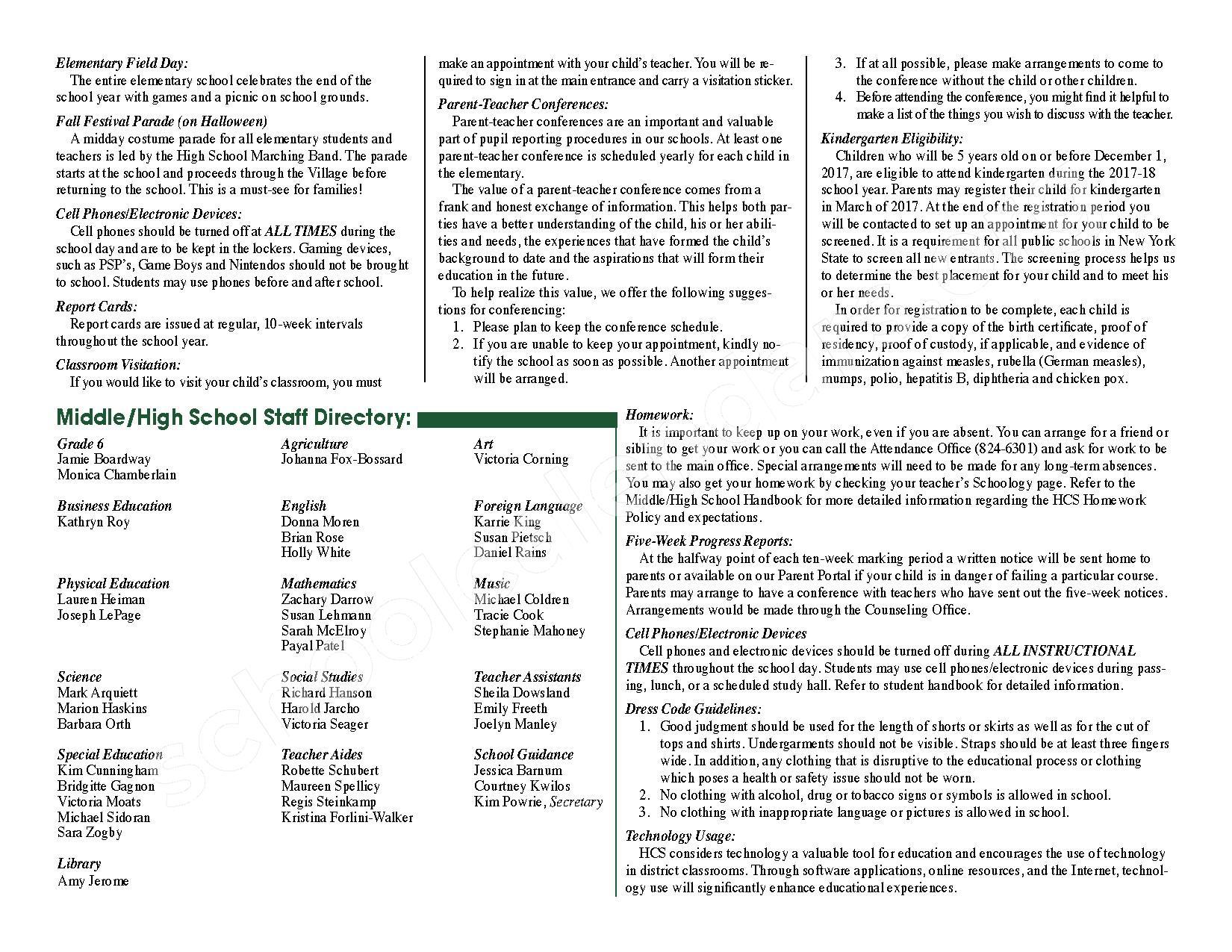 2016 - 2017 District Calendar – Hamilton Central School District – page 5