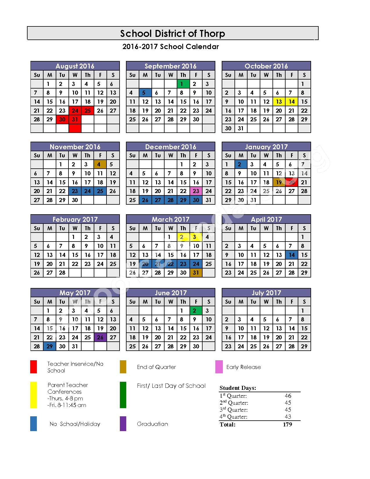 2016 - 2017 School Calendar – Thorp School District – page 1