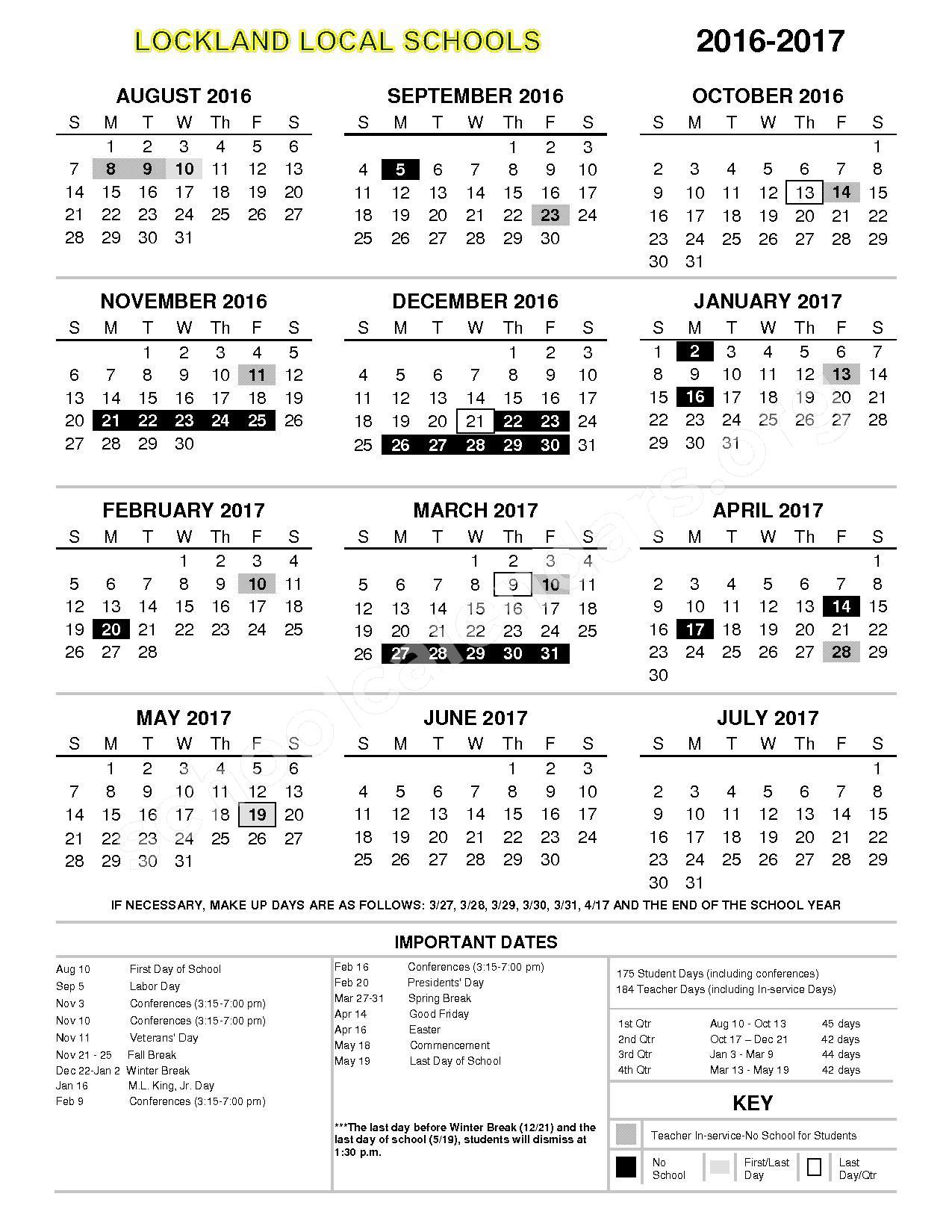 2016 - 2017 District Calendar – Lockland School District – page 1