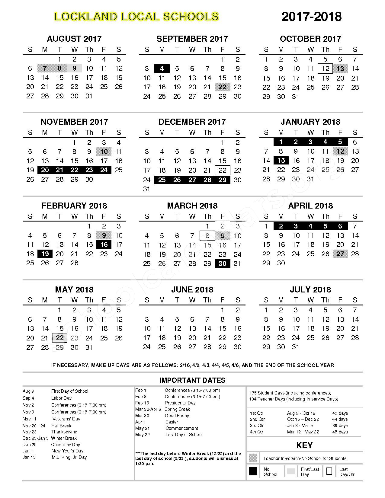 2017 - 2018 District Calendar – Lockland School District – page 1