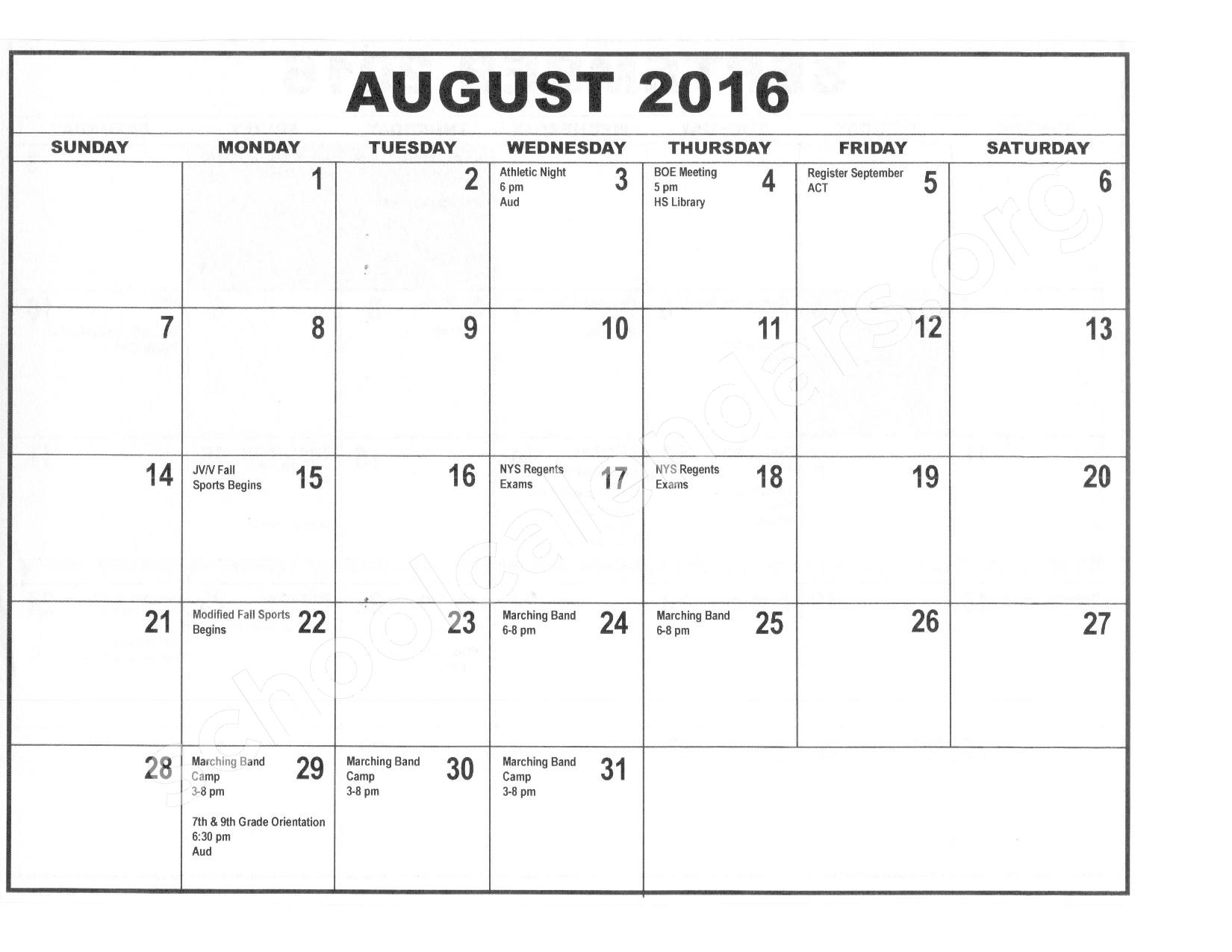 2016 - 2017 District Calendar – Forestville Central School District – page 1