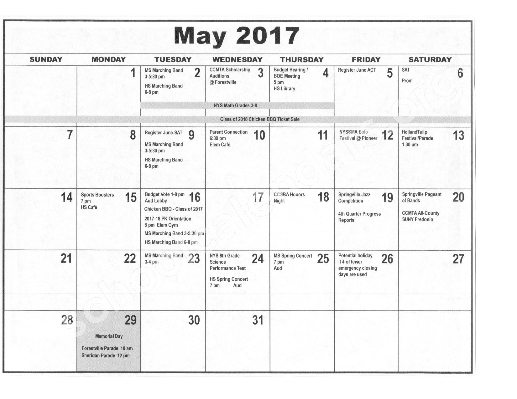 2016 - 2017 District Calendar – Forestville Central School District – page 10