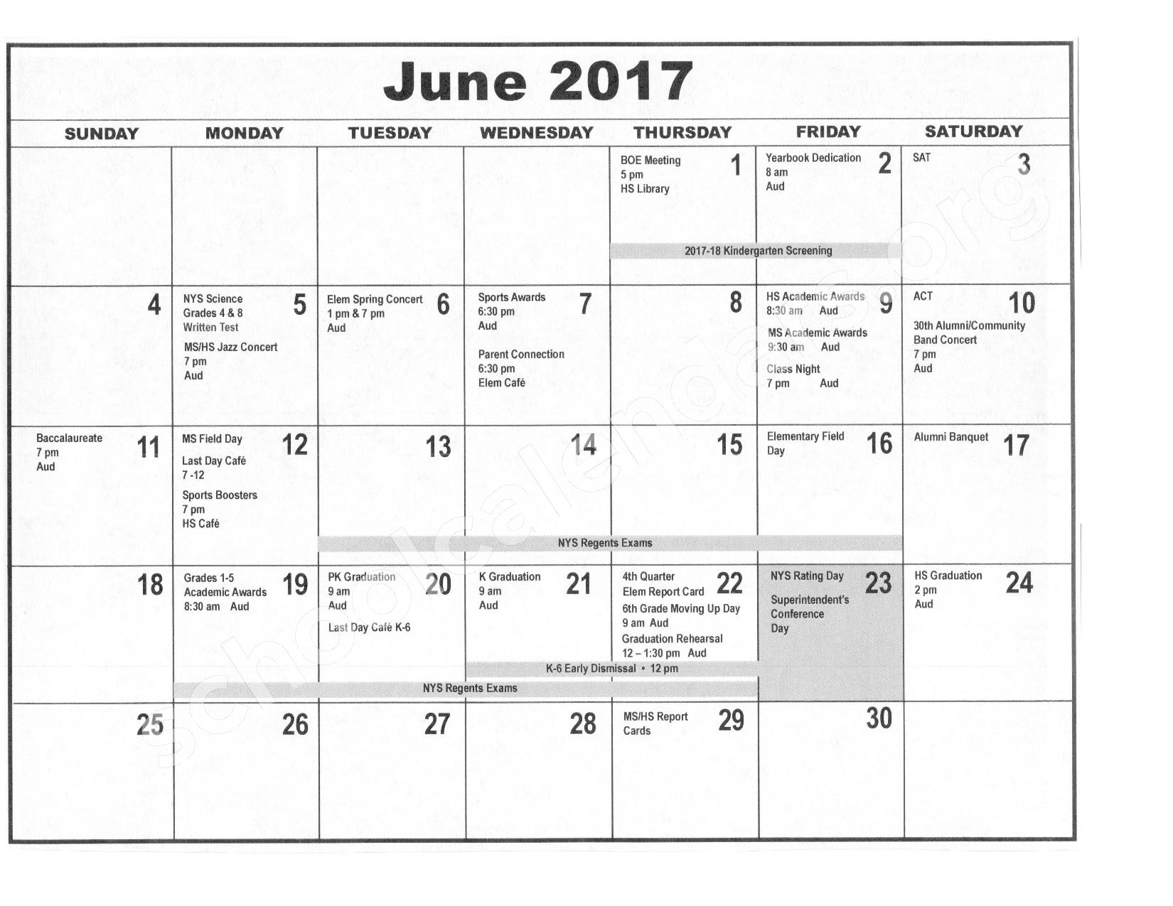2016 - 2017 District Calendar – Forestville Central School District – page 11