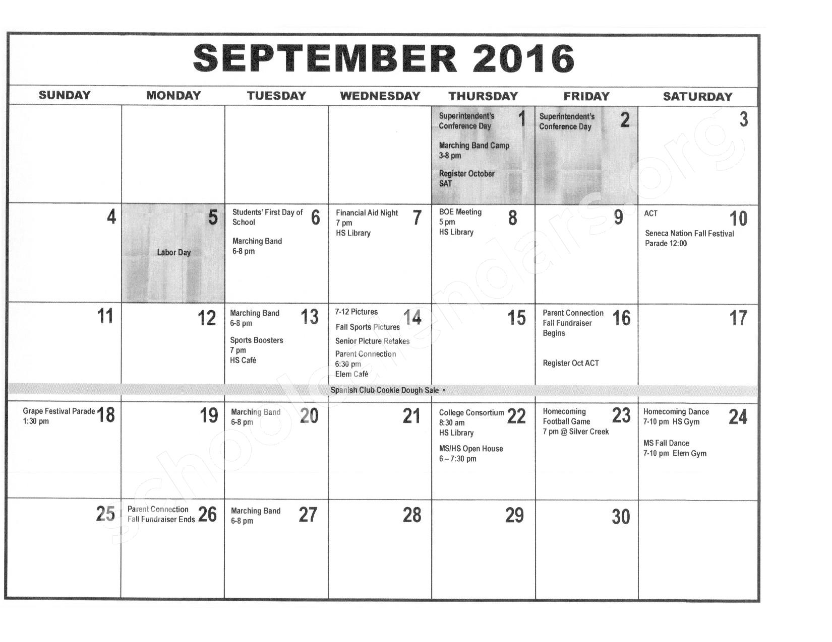2016 - 2017 District Calendar – Forestville Central School District – page 2