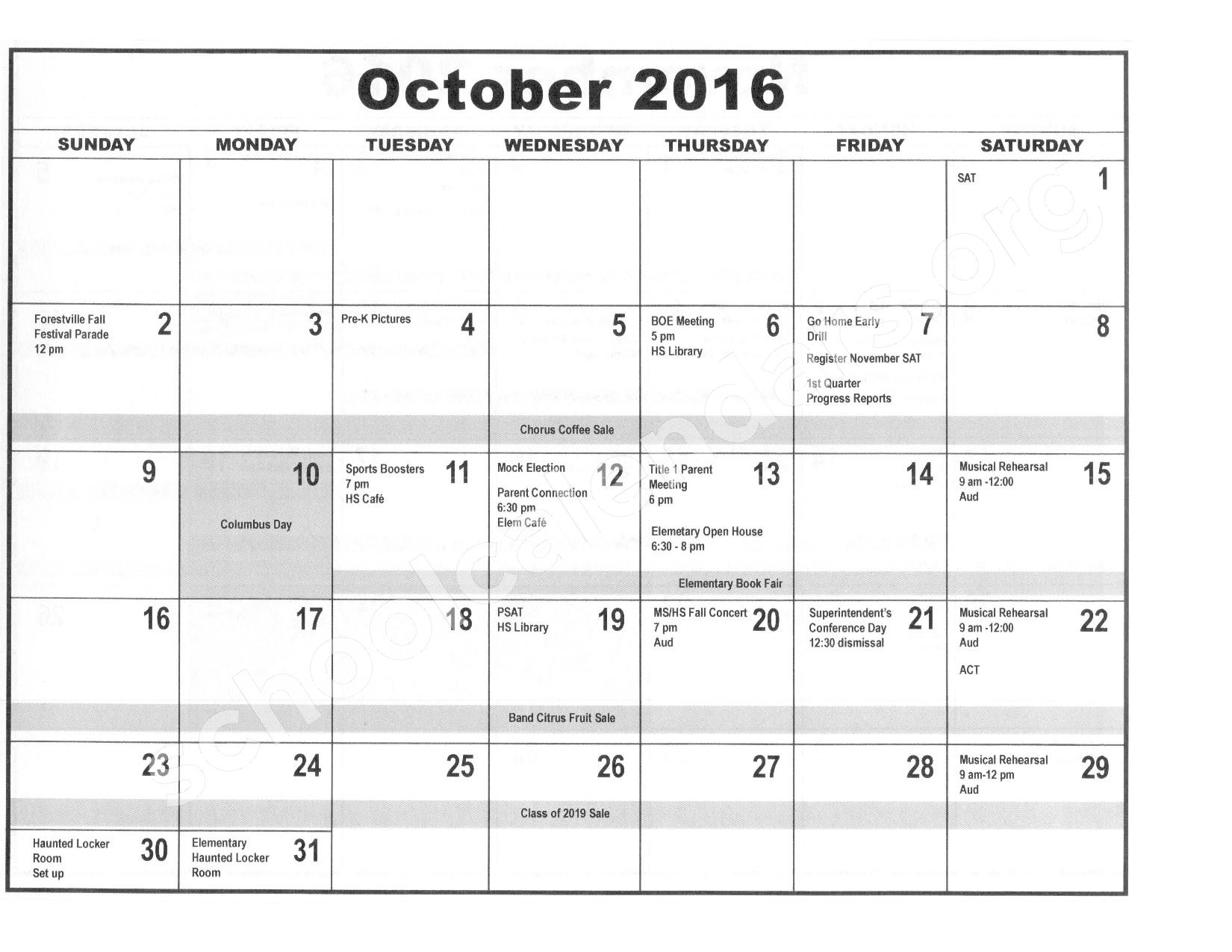 2016 - 2017 District Calendar – Forestville Central School District – page 3