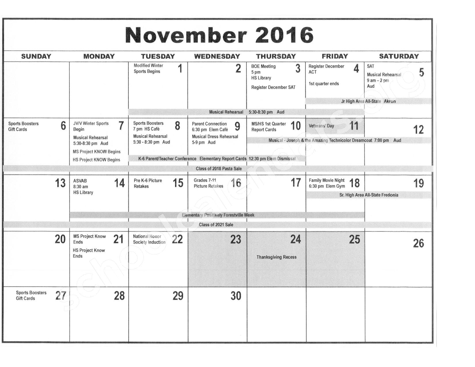 2016 - 2017 District Calendar – Forestville Central School District – page 4