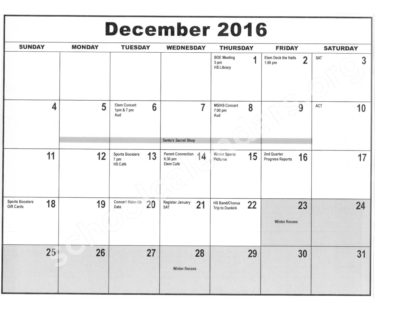 2016 - 2017 District Calendar – Forestville Central School District – page 5