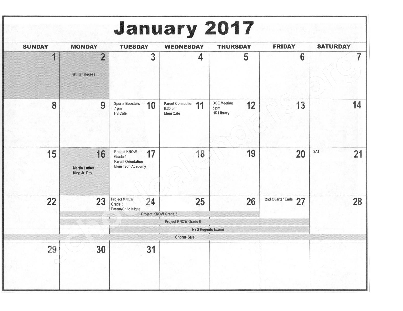 2016 - 2017 District Calendar – Forestville Central School District – page 6