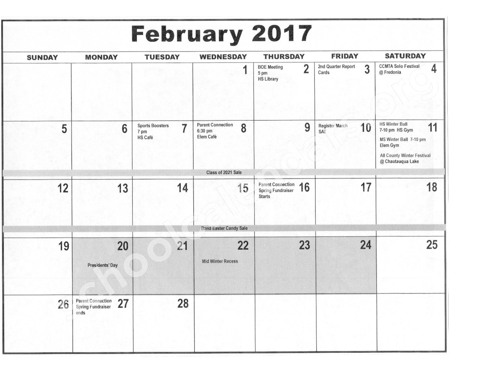 2016 - 2017 District Calendar – Forestville Central School District – page 7