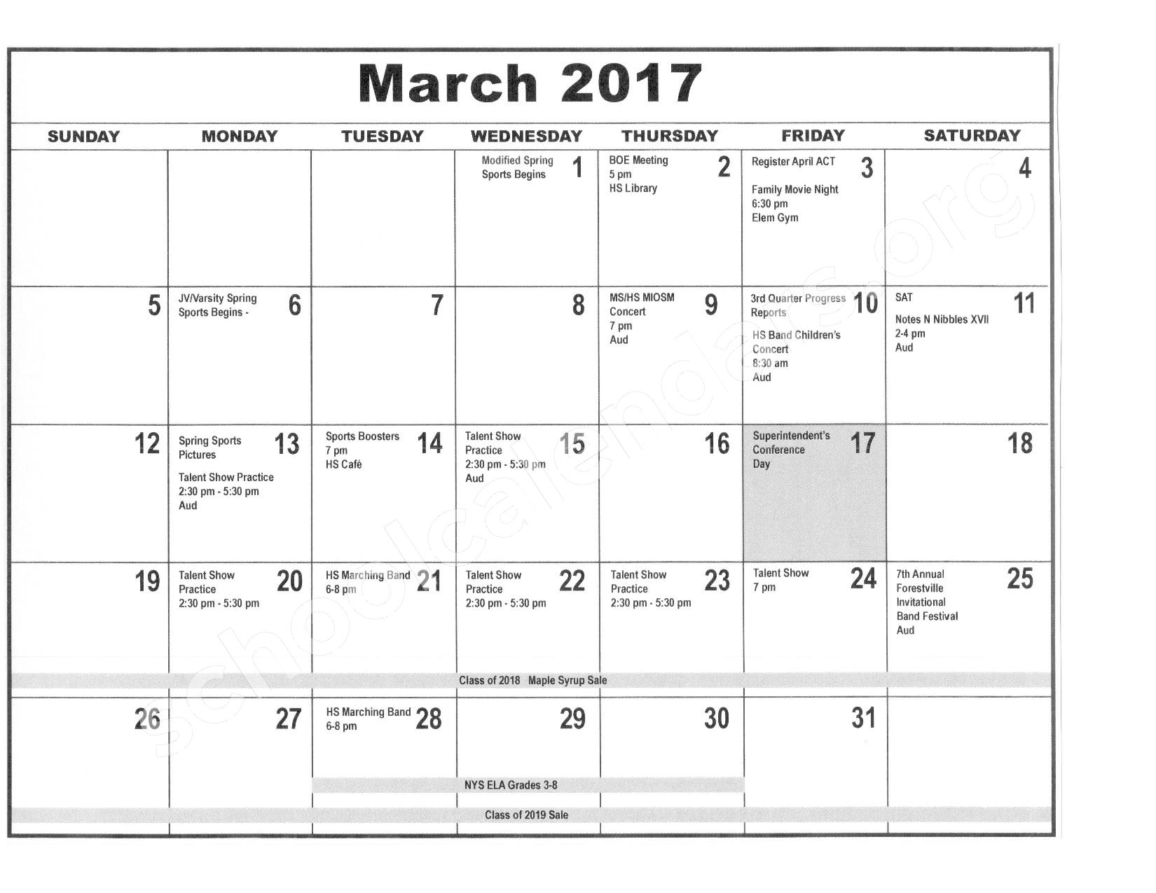 2016 - 2017 District Calendar – Forestville Central School District – page 8