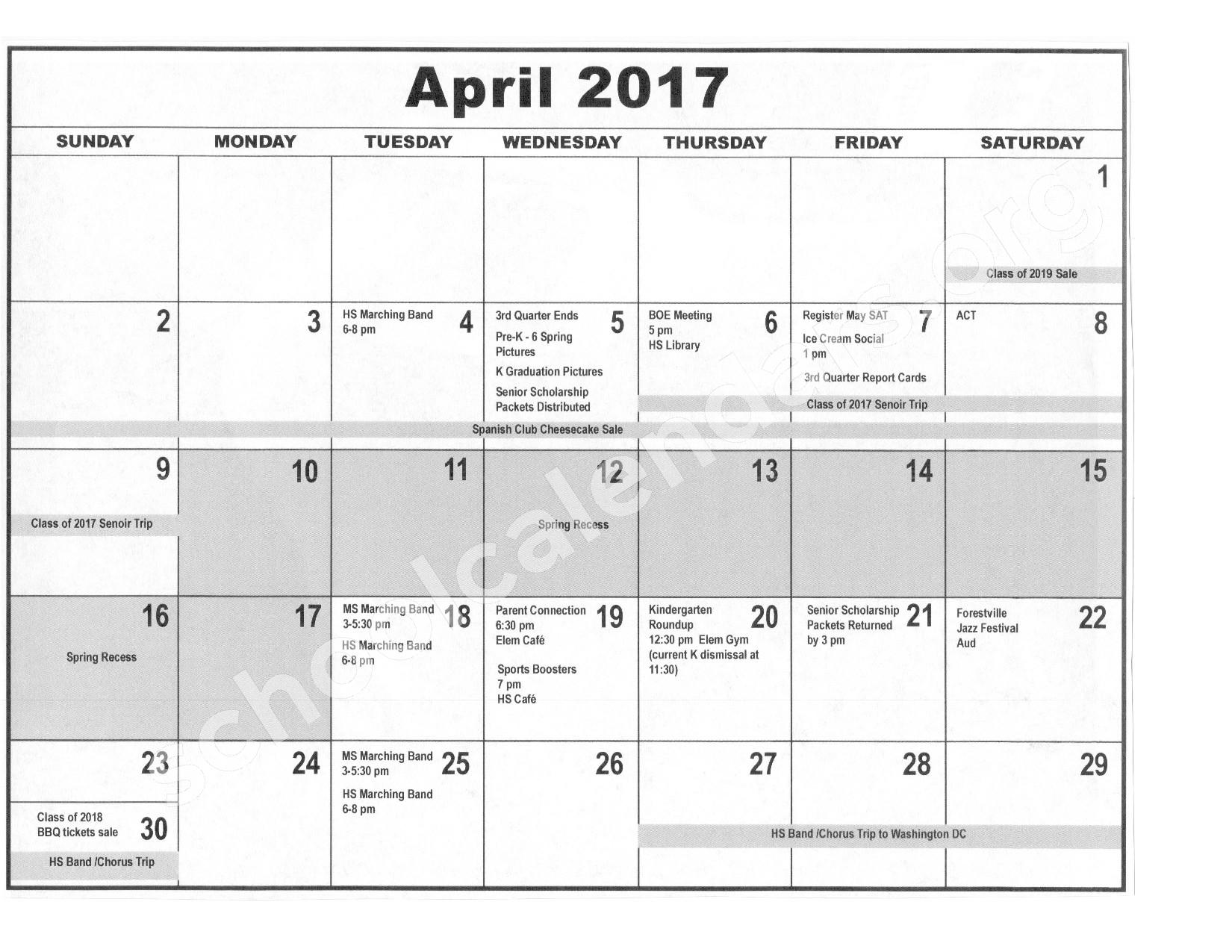 2016 - 2017 District Calendar – Forestville Central School District – page 9