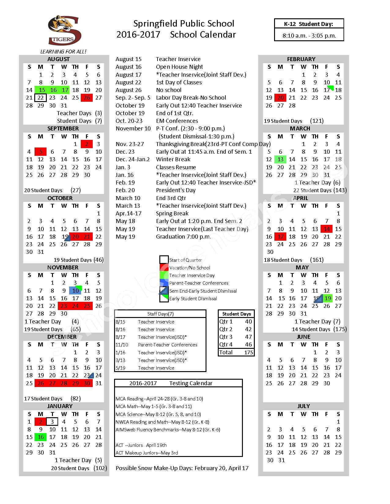 2016 - 2017 School Calendar – Springfield Public School District – page 1